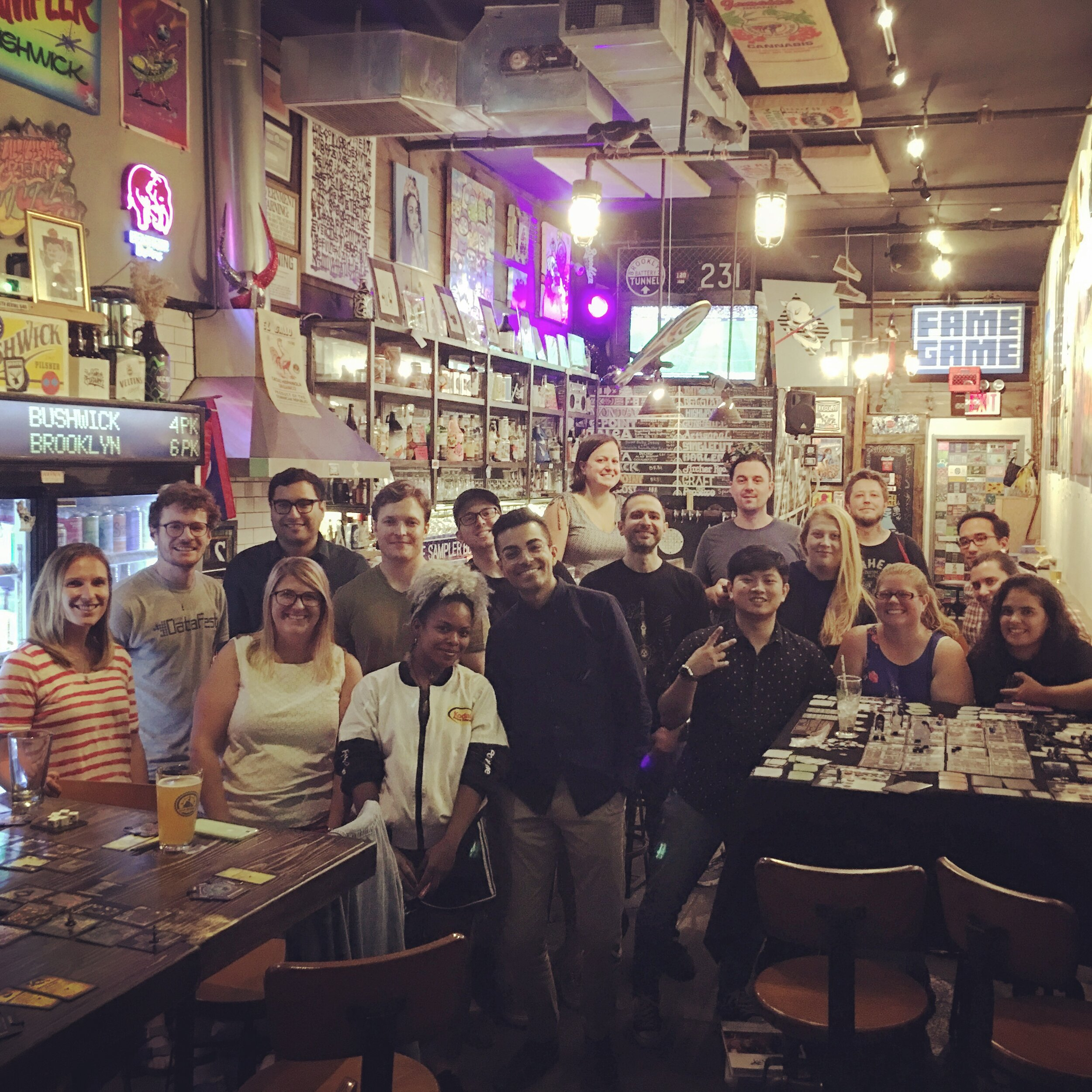 Members of Brew N Boards pose for our traditional event photo during a game night at The Sampler in Bushwick on September 3rd, 2019.