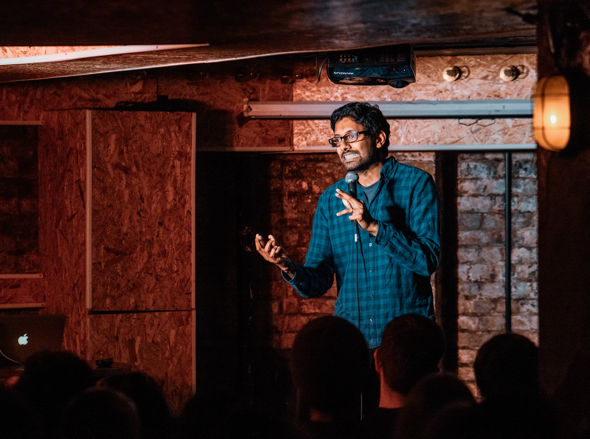 This is a picture of me being a comedian. It is also technically a picture of me being a writer, but that is harder to tell. Credit: Edward Moore.