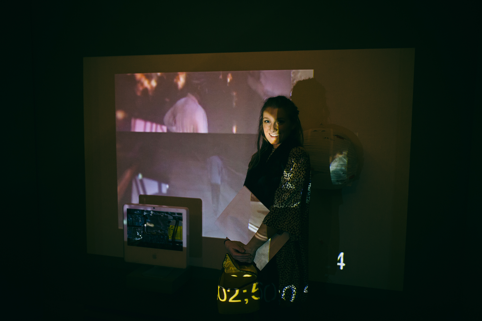 "Mixed media projection installation ""Cyclical"" at Annual Juried UW Student Exhibition"