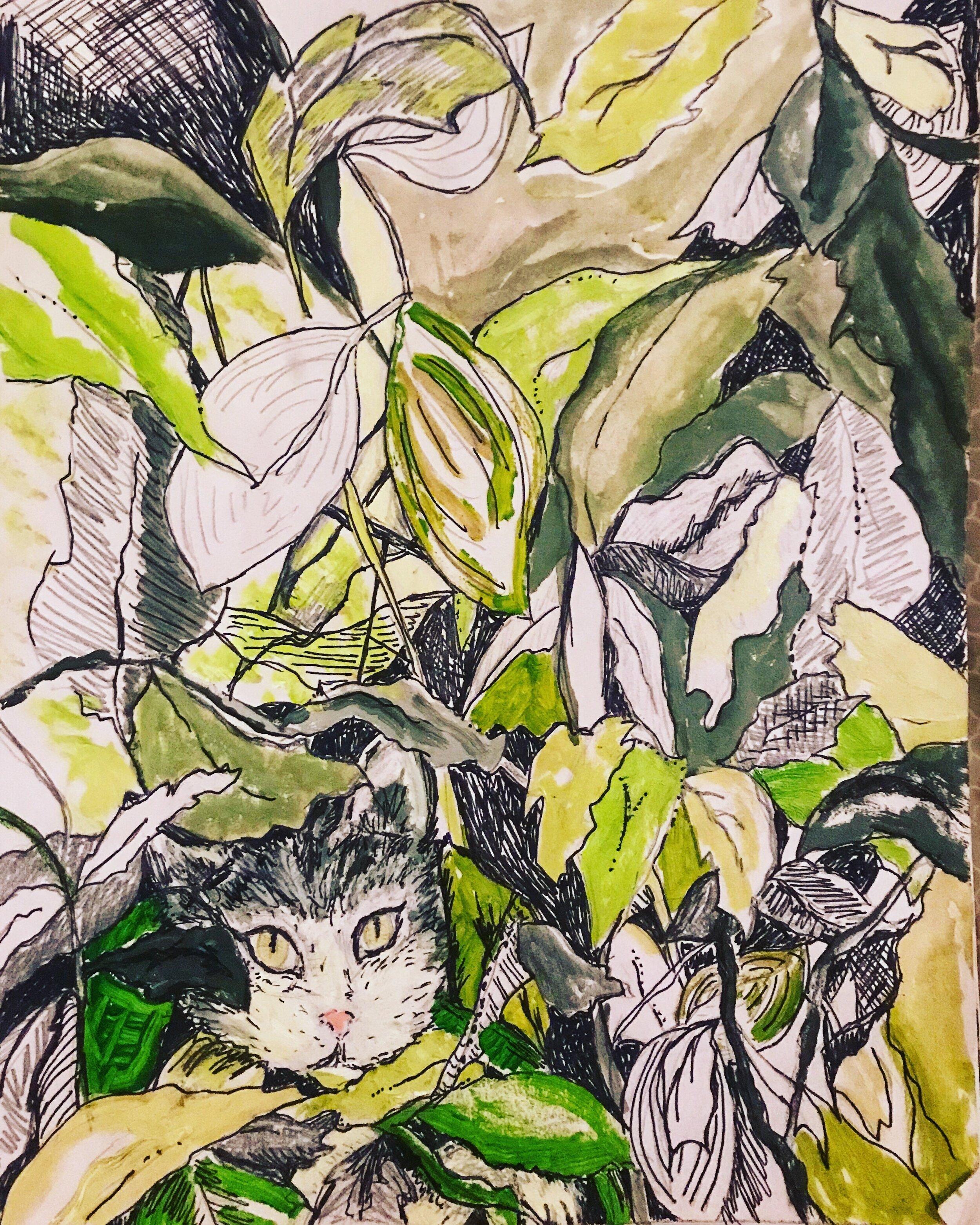 Indoor Cat 9x12 Mixed Media