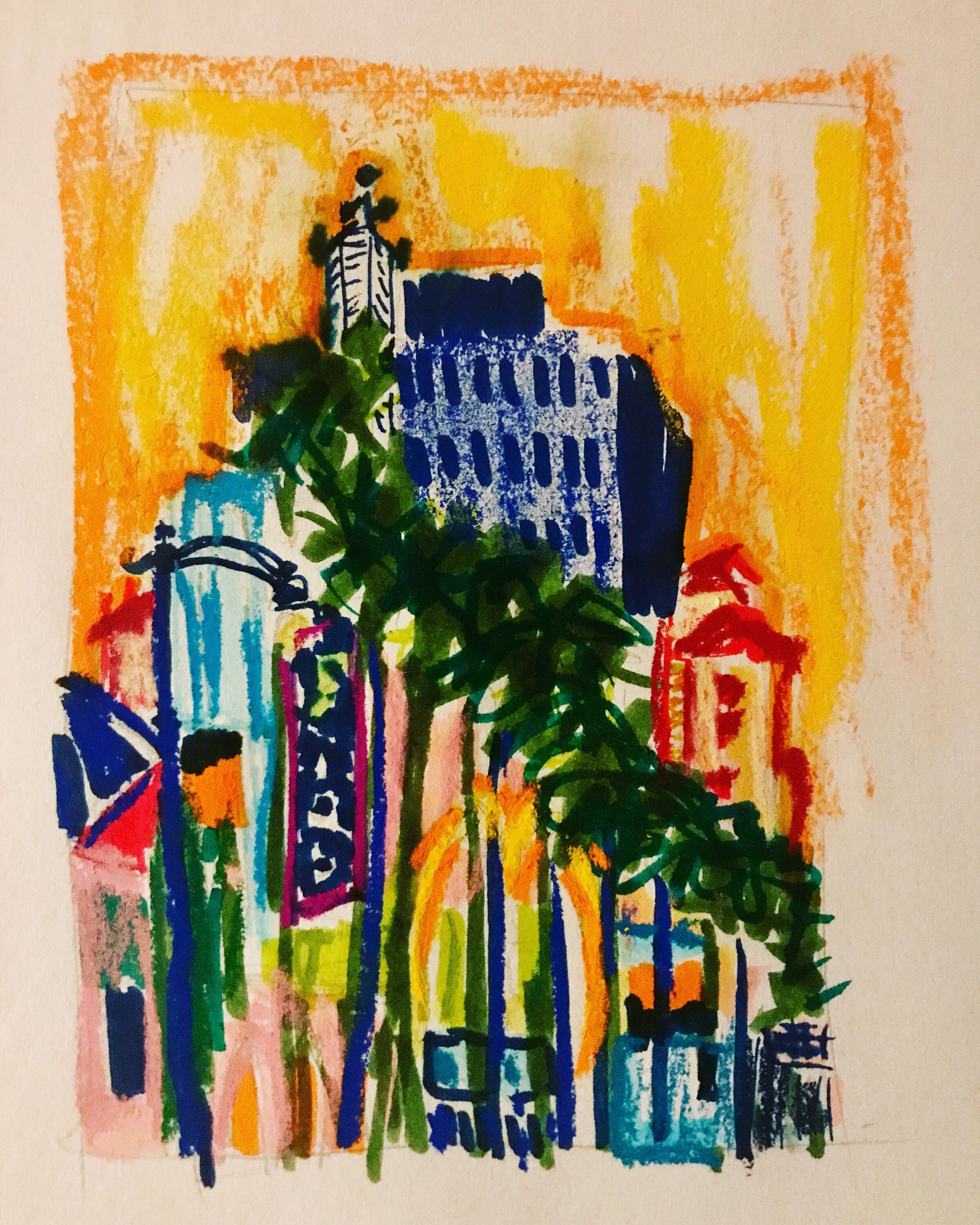 City of Dreams 5x7 Mixed Media on Paper