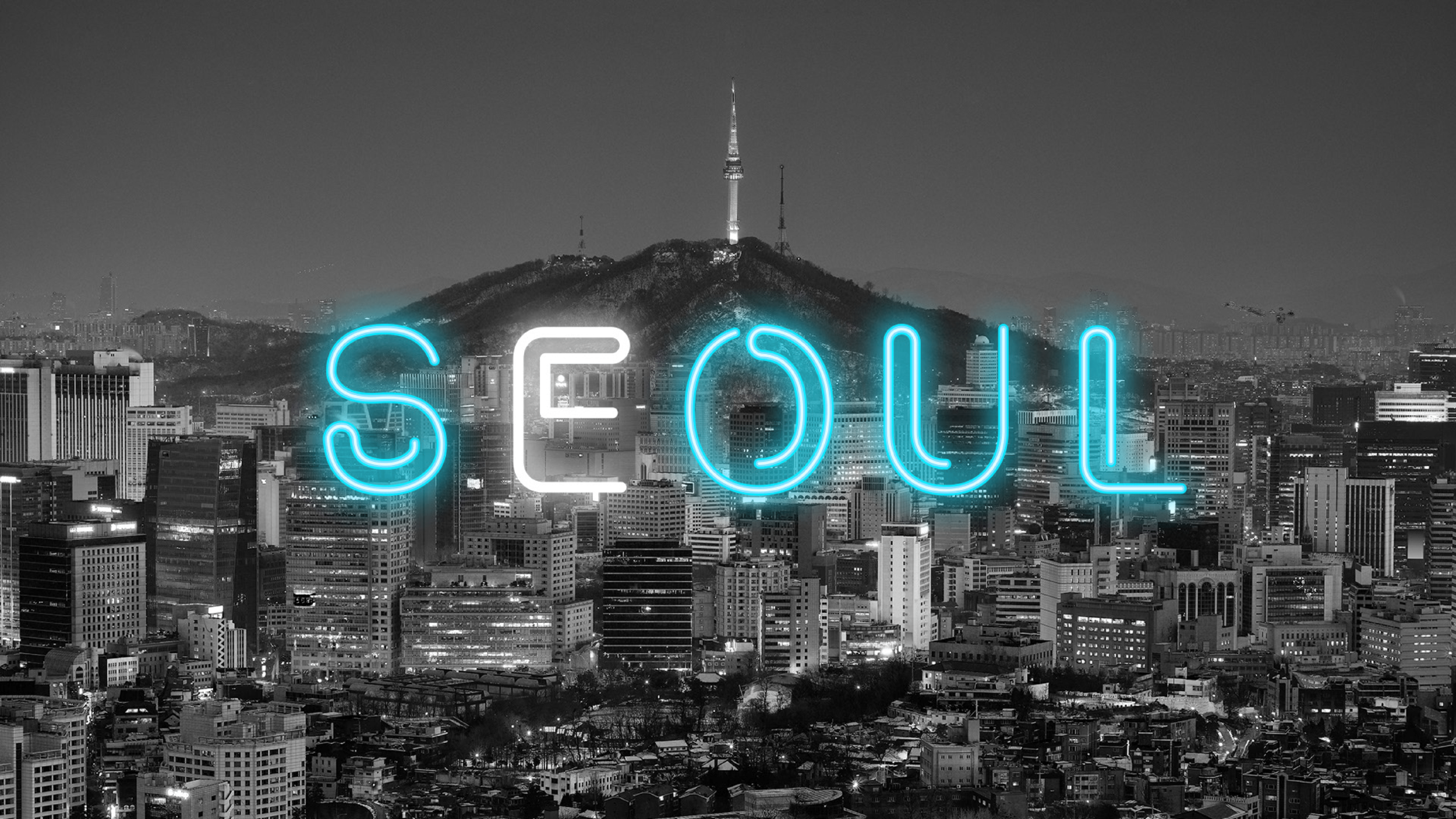 """revised design - After revising the title slide, I ask for the opinions from my team and we made consensus that the title slide should express more """"night energy"""" from Seoul. Using neon light as the font style allows the title slide fully express the """"night energy"""" and strongly establish the design language at the beginning of the presentation."""