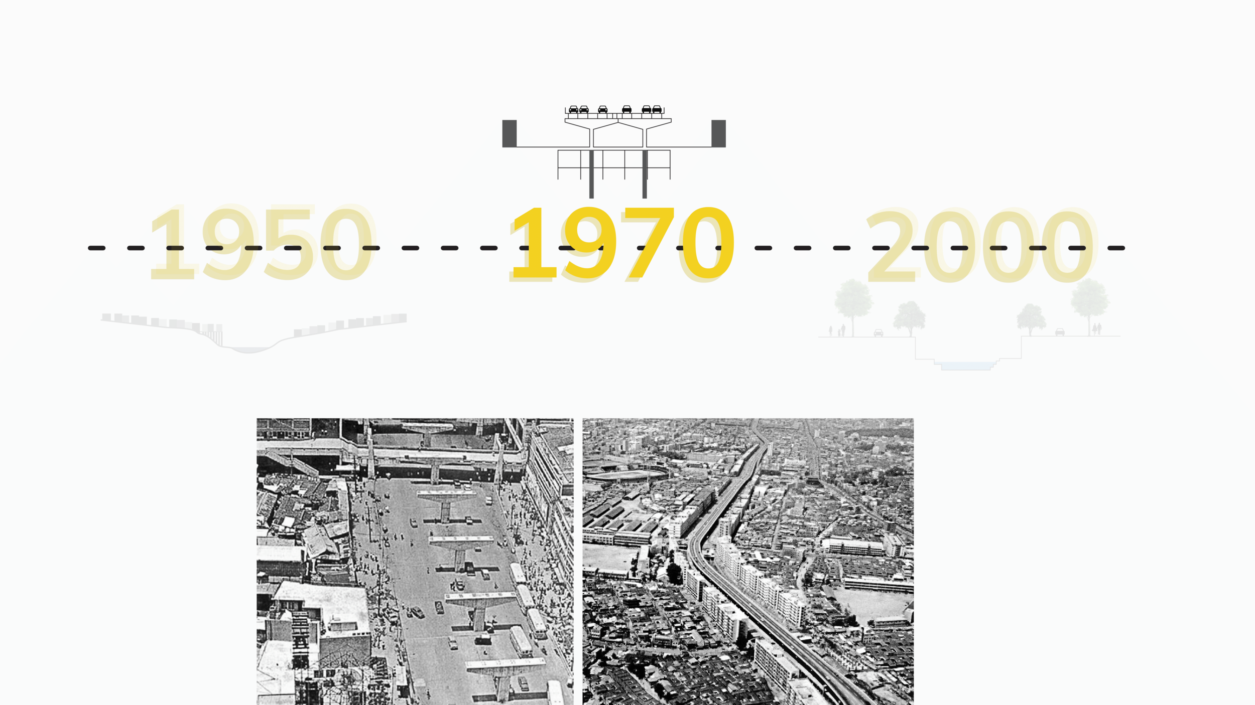 design decision - Use diagram and photos to show the structure of the bridge at Cheonggyecheon area in 1970s. Using the timeline will allow our slides transition easily from one to another (the slide on the right) and tell a better story of the history of Cheonggyecheon area.