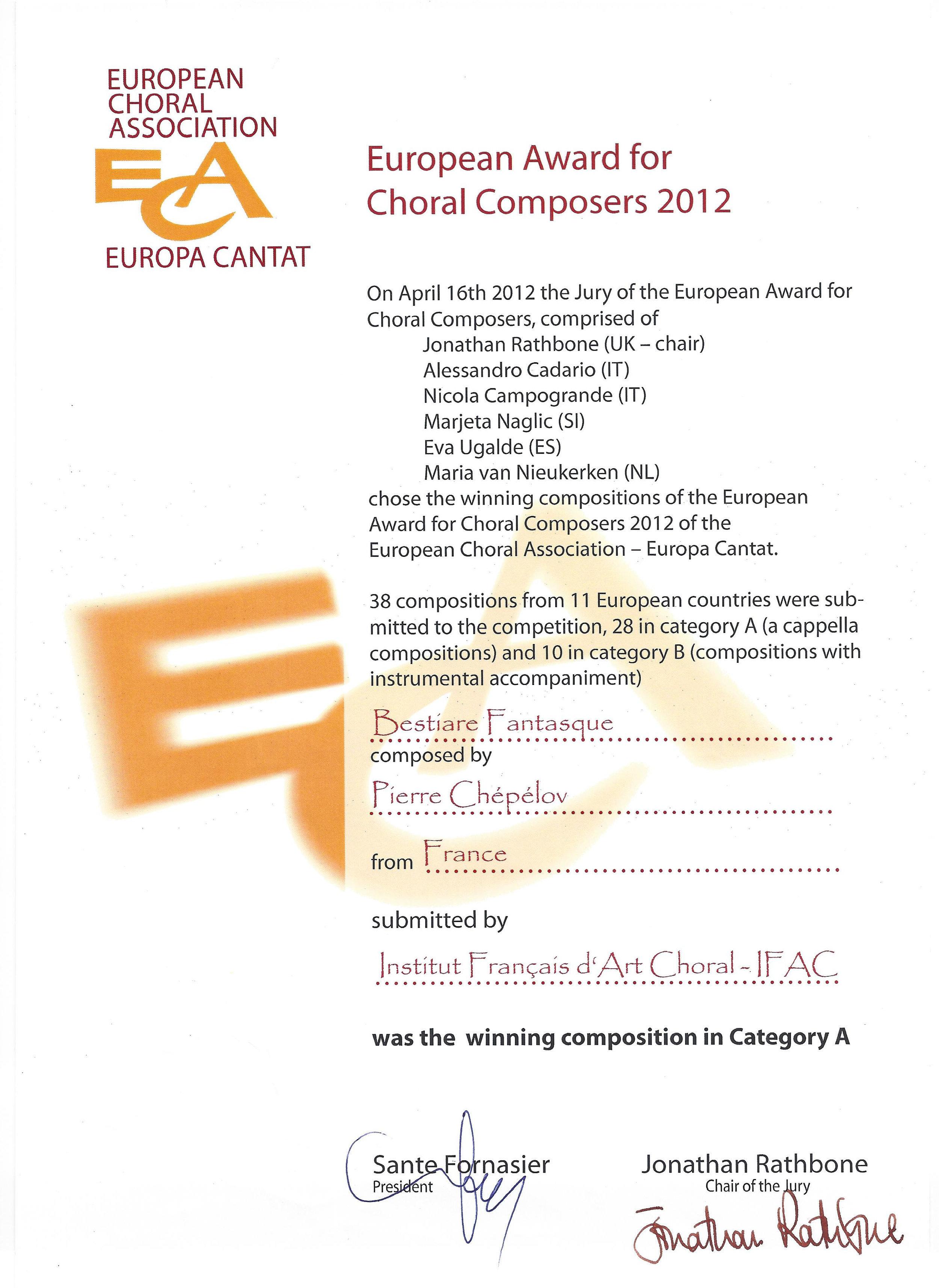 European Award for Choral Composers 2012 – ECA Europa Cantat