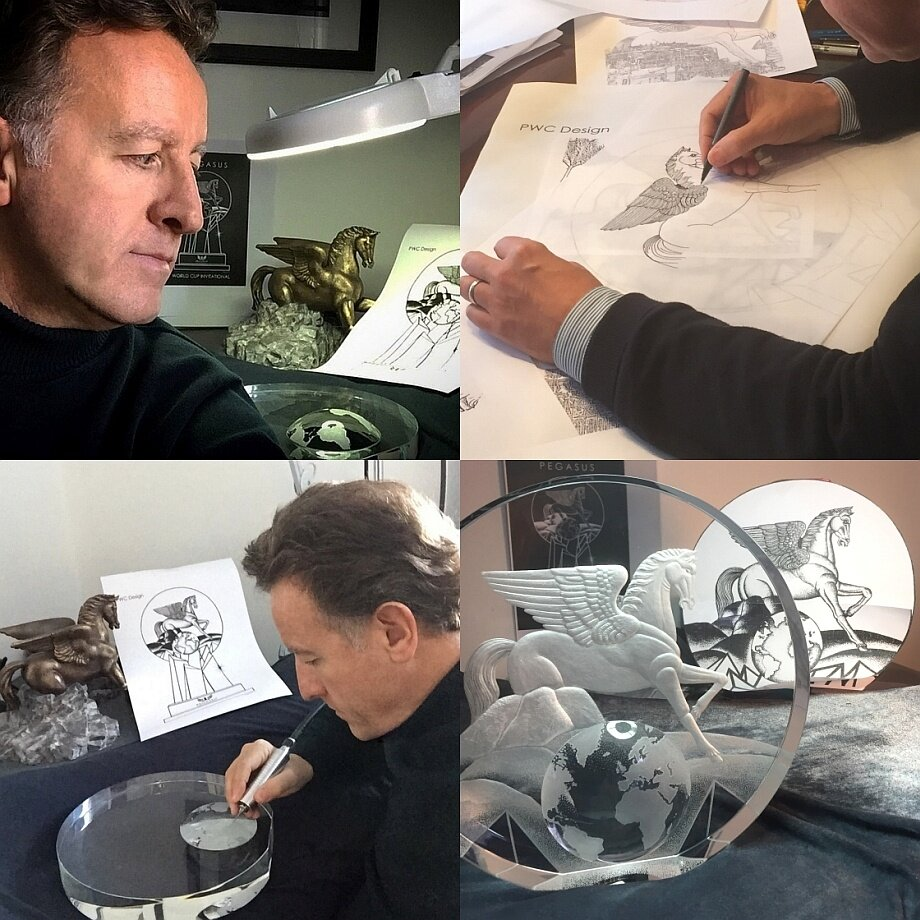 The inspiration and design process for the creation of the Pegasus World Cup Invitational crystal trophy, which incorporated 10 hand-cut pieces of optical crystal which were hand-engraved by artist, Mark Raynes Roberts.
