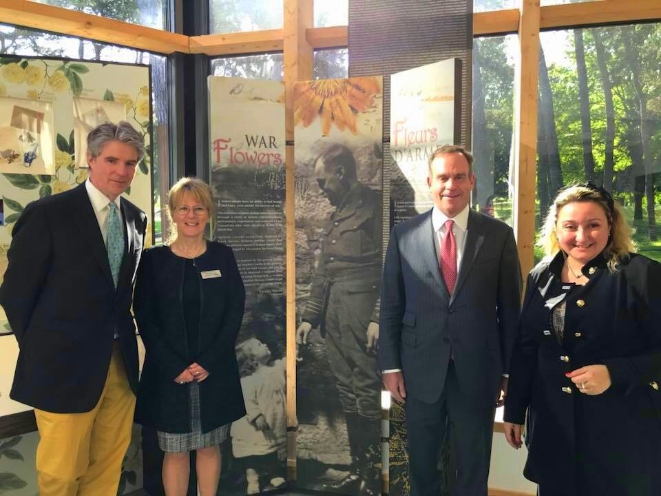 Alexander Reford, (far left) Director, Jardin de Metis, at the opening of the WAR Flowers exhibition at the new Visitors Education Centre, Vimy, France, with David Stevenson, (relative of Lt. Col. George S. Cantlie) and curator Viveka Melki.