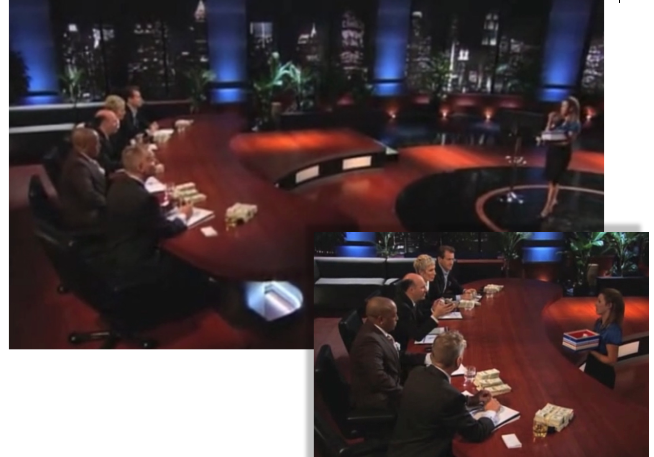 Tiffany pitching on the pilot episode of Shark Tank