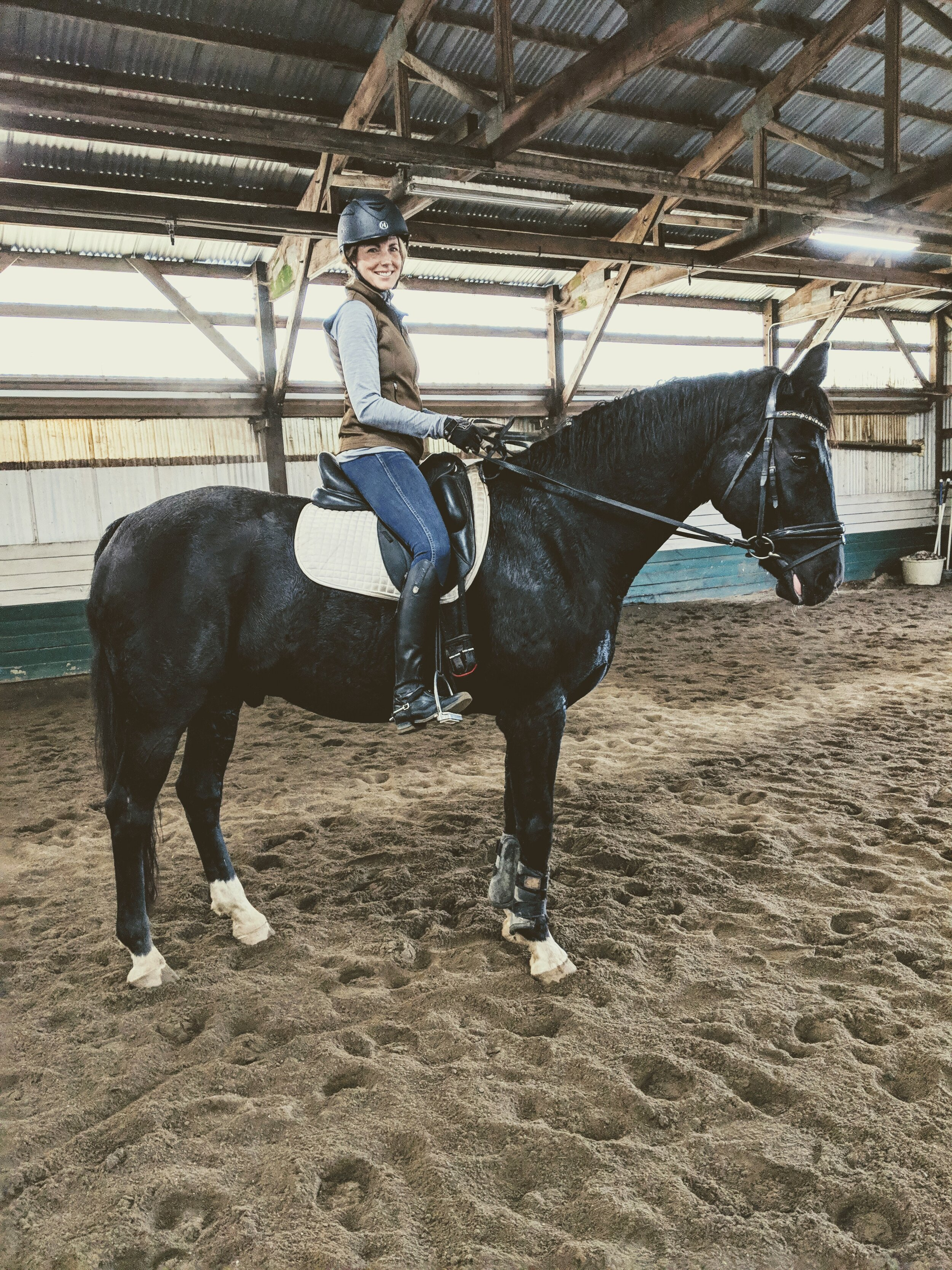 A photo with sweet Allegro. This was my first time back on a horse after a bad fall that resulted in blunt chest trauma, concussion and a cracked tooth for me.