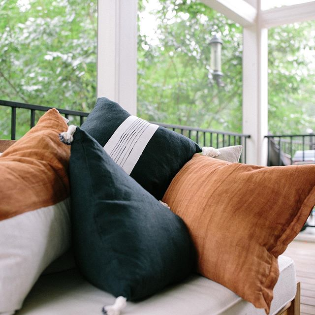 Pillows on pillows on pillows. Perfect for back porch talks.