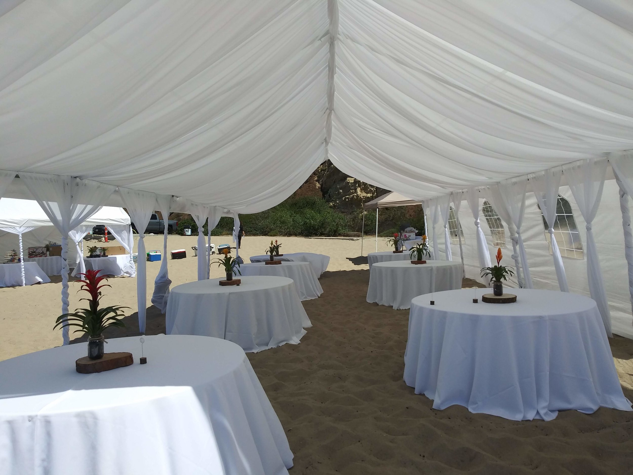 - This is a drape and tent rental set up at Malibu beach. Party Rental Creation covers parties in Malibu, Pointe View rental.