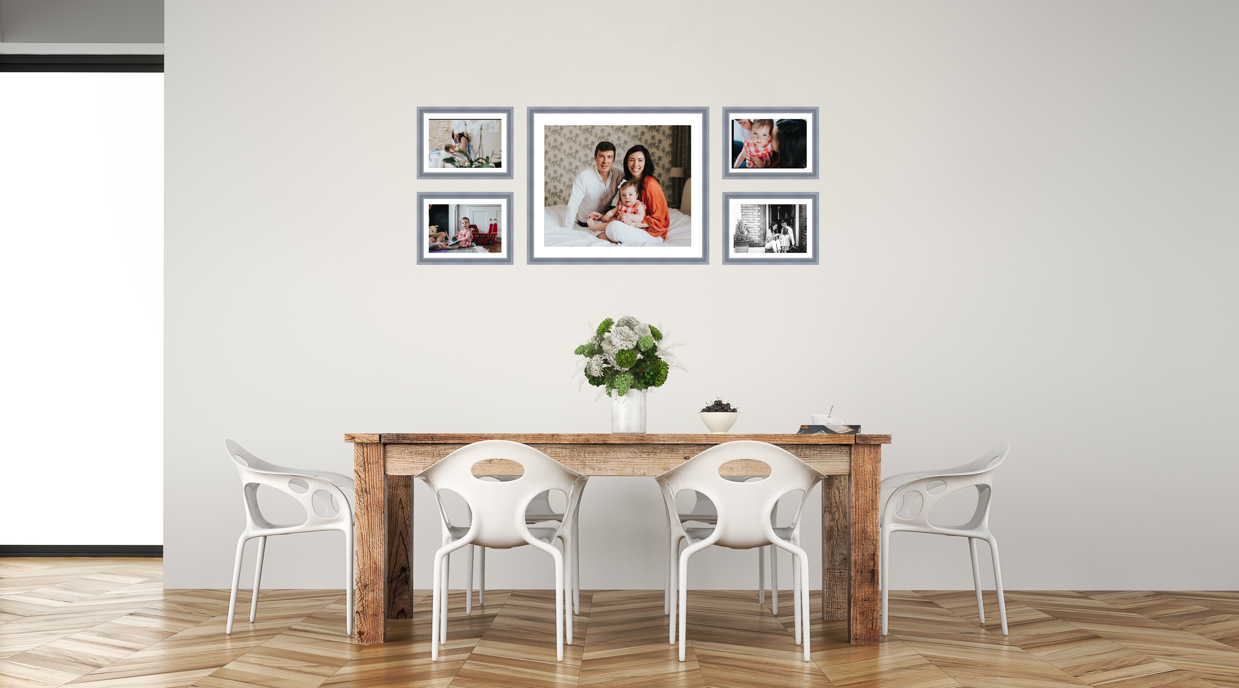"""WALL COLLECTION 3 - £690 - 1x 24×20"""", 4x 12×8""""Total Size: 66×26″"""