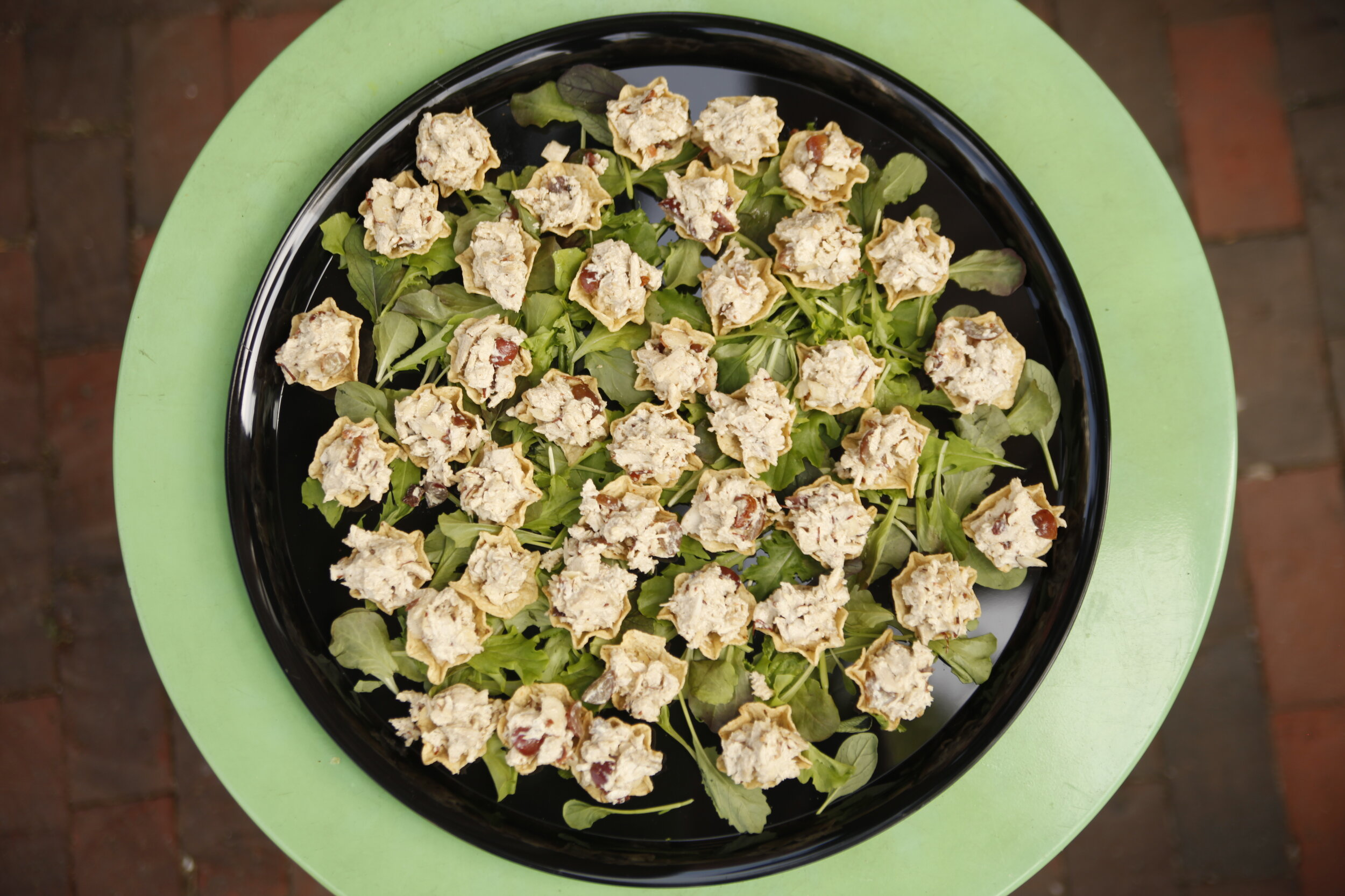 Chicken Salad Chips - OUR FAMOUS CHICKEN SALAD WITH GRAPES, ALMONDS & BACON IN CRUNCHY TORTILLA CHIPS50 BITES $50