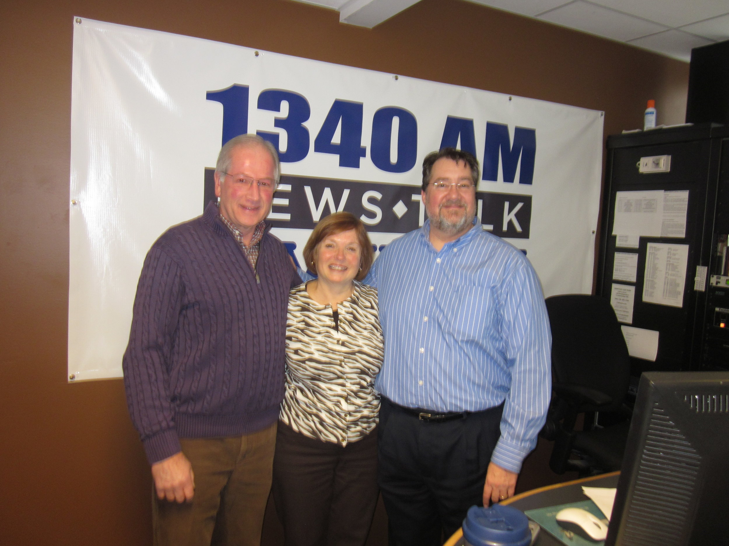 Dave Jaconette (right) interviewed Ron Rozema and me on WJRW radio.