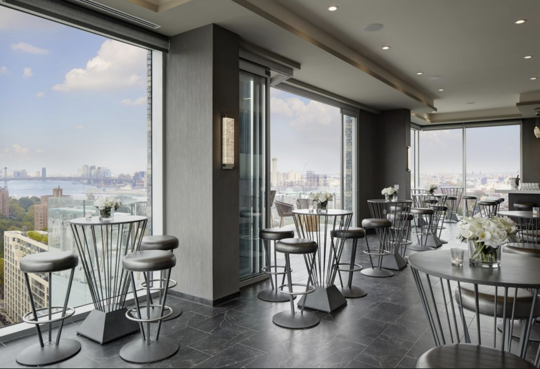 Skyspace Terrace - Located between Dumbo & Downtown Brooklyn. This amazing lounge in the 23rd floor of a hotel is available to rent for private events with catering and bar service. Extra fee apply.
