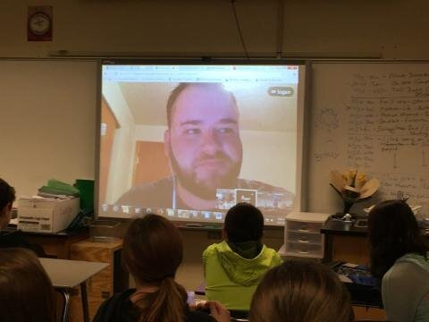 Pallin speaking to Welsh's 7th grade science class in 2016.