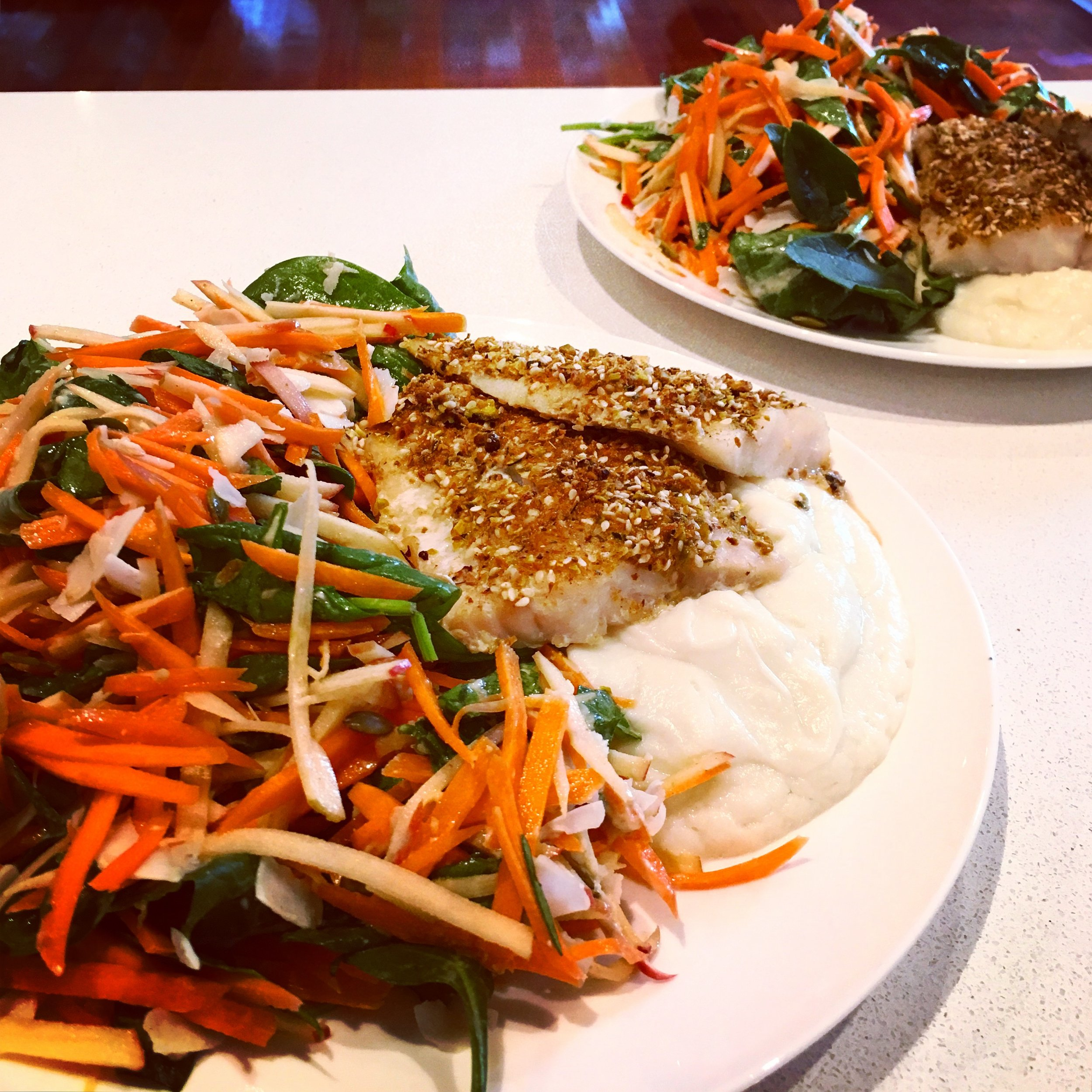carrot salad and fish