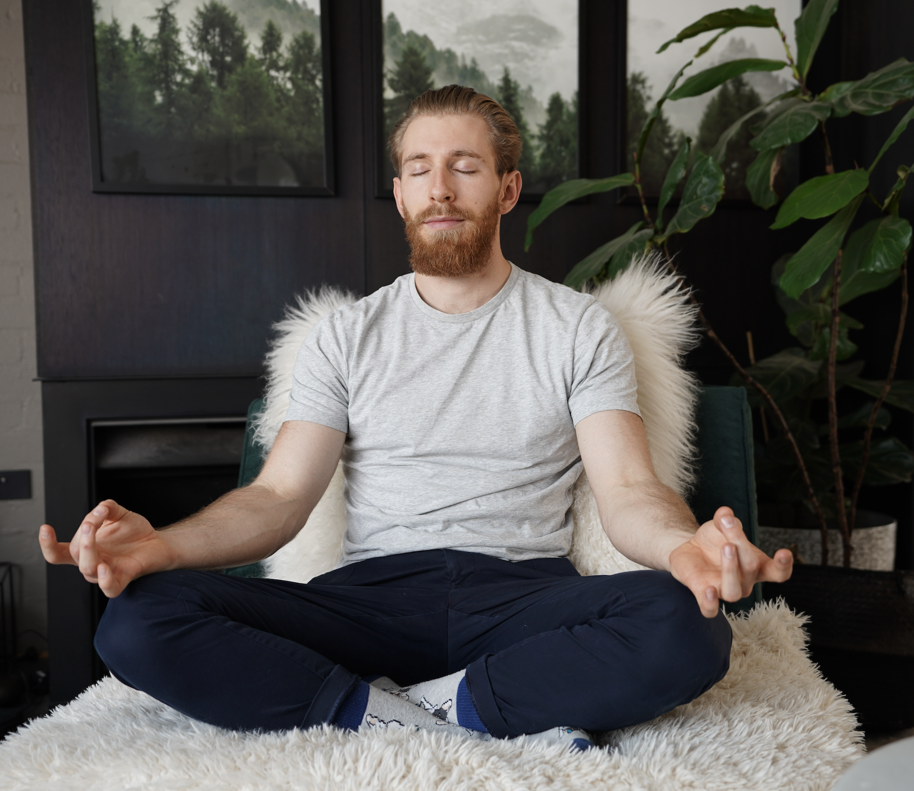 Meditating on couch