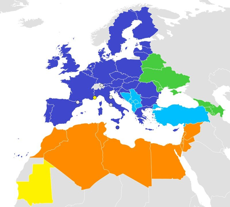 European Neighborhood Policy    Members in yellow and green. Blue countries are not members because they may eventually join the EU. (9)