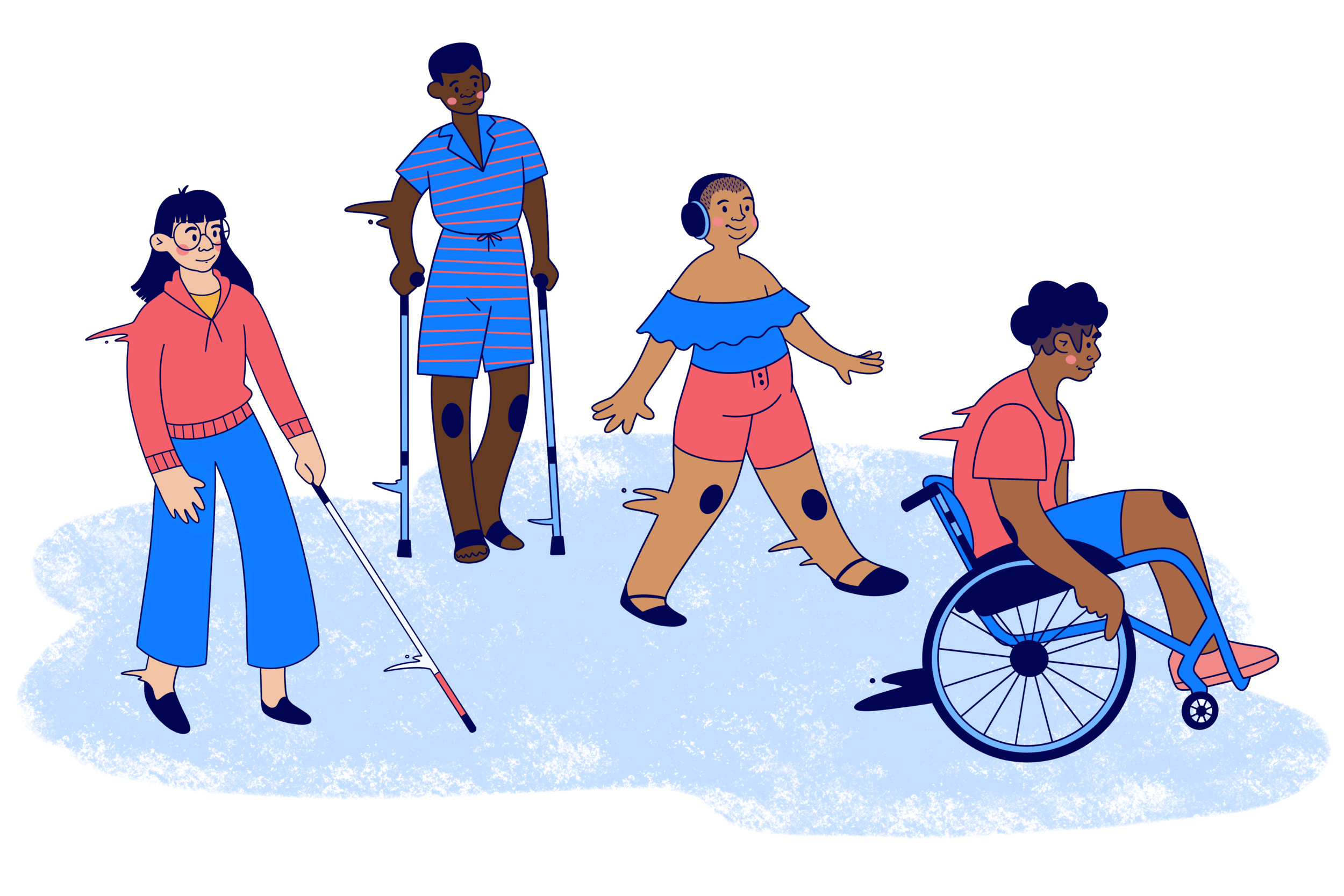 Colorful cartoon of four people moving forward