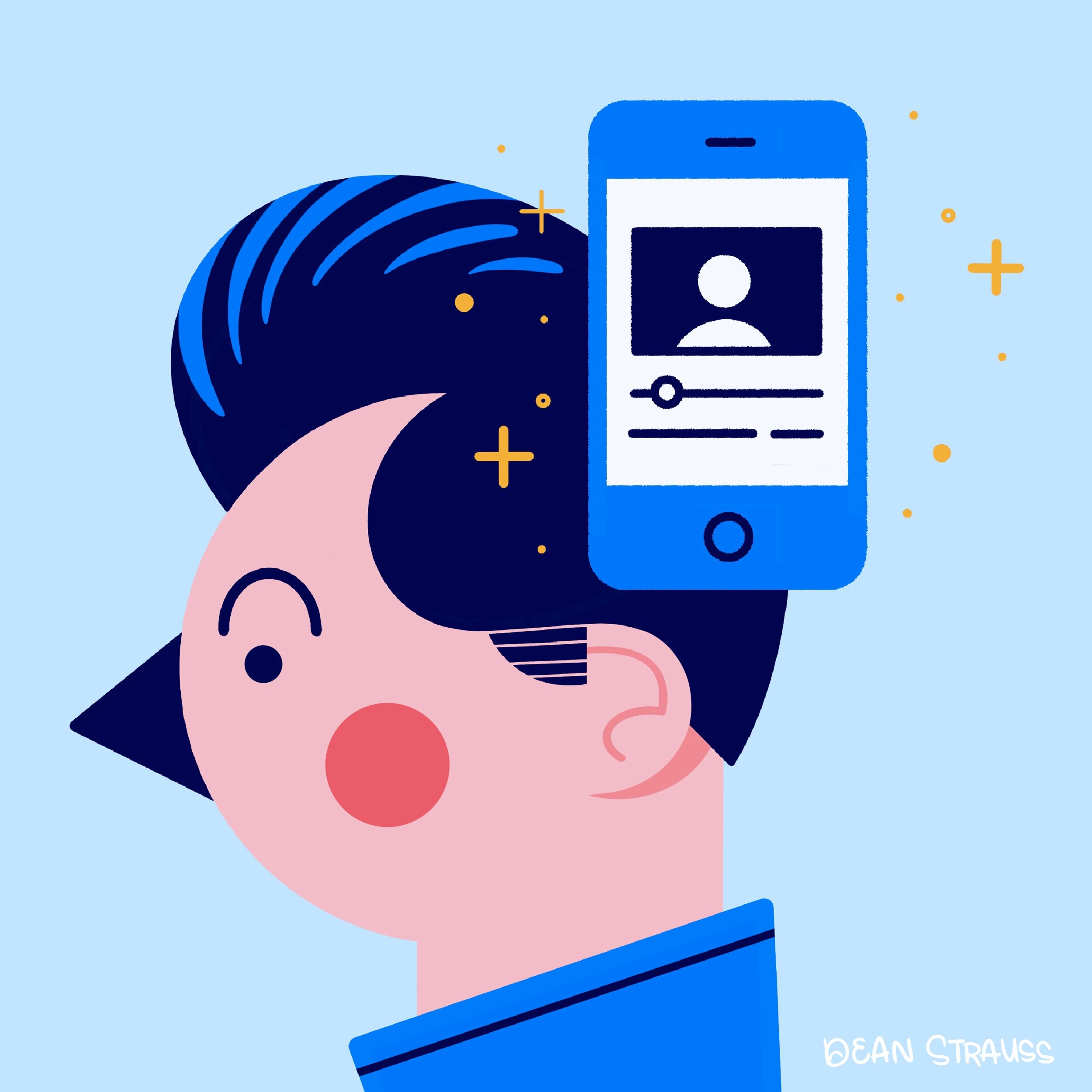 Colorful cartoon of a man with a cellphone showing a vlog shining next to him.