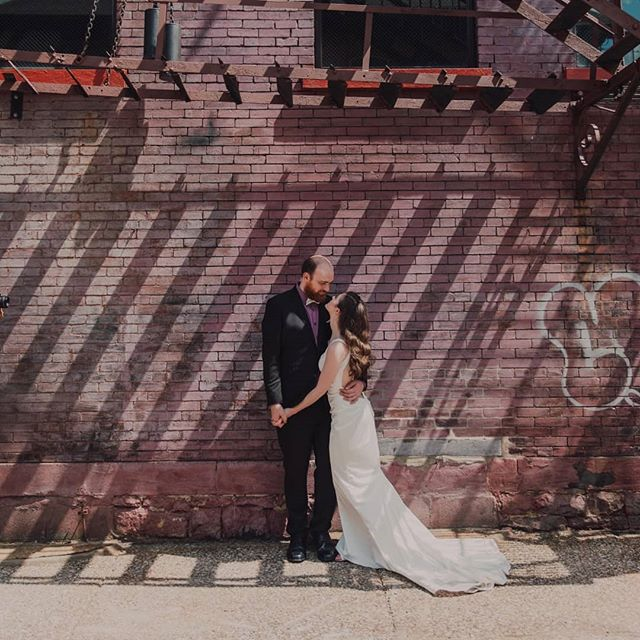 & if I chose the one I'd like to help me through I wanna make it with you 💕 . . . . 📸 @julierosillophotography . . . [Image description: Aubrey is dressed in her white wedding gown and her husband is in his black suit on their wedding day. They are in from of a brick wall. Image 1: Aubrey is leaning into Pat. Image 2: Pat is twirling Aubrey around with their arms up. Image 3: they are both stoically standing facing the camera and holding hands.] . . . #finallyfarabaugh #wedding #weddingphotography #altoonawedding #altoonapa #julierosillophotography #sherrihill #finallymarried #newlyweds #husbandandwife #centralpaweddings #oasisstylingsalon #railroadersmuseum #railroadcity #traintown #fitbride #filthymouthedwife