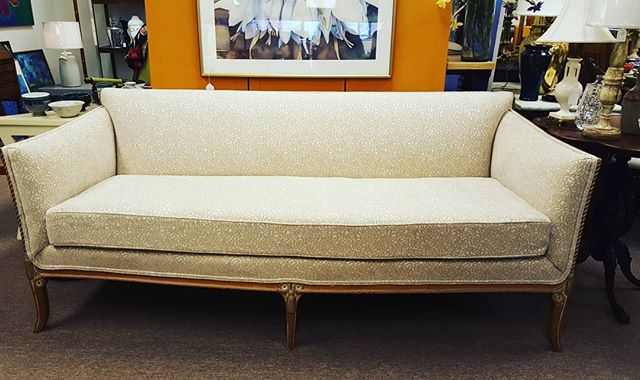 Solid Wood Frame Early 1900 Gustavian Sofa with new Ecru fabric.