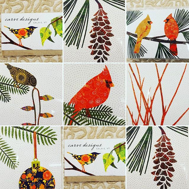 We have boxed and individual Christmas and seasonal cards made in Vermont by Carve Designs