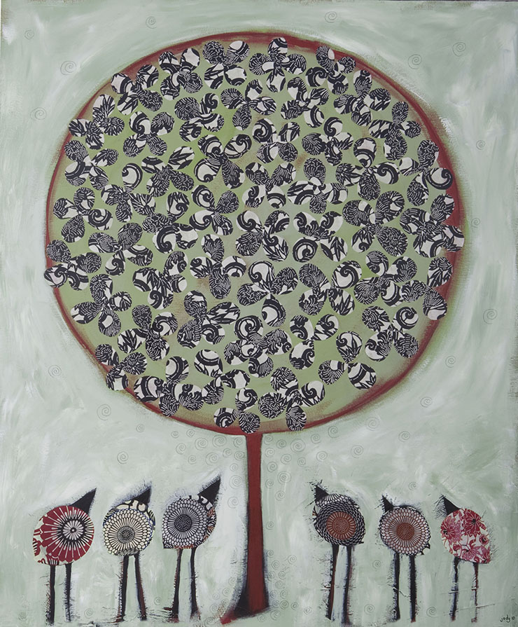 Large Canvas - 'The Meeting Tree' - Mixed Media - SOLD