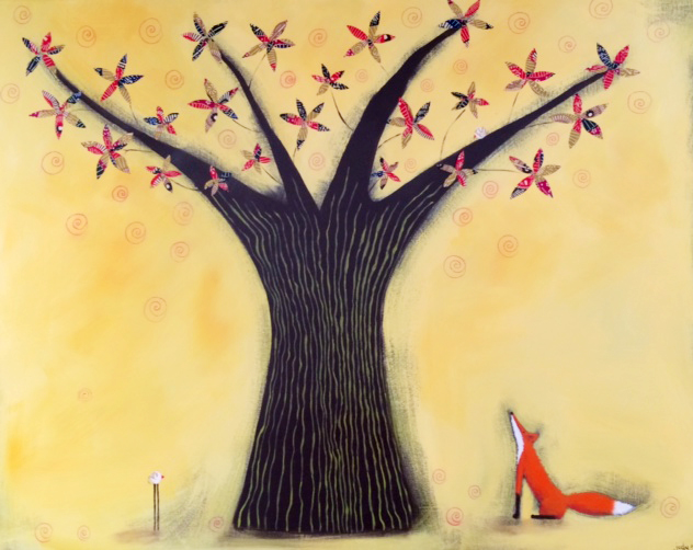 Small Canvas - 'Fox and Tree' - Mixed Media - SOLD