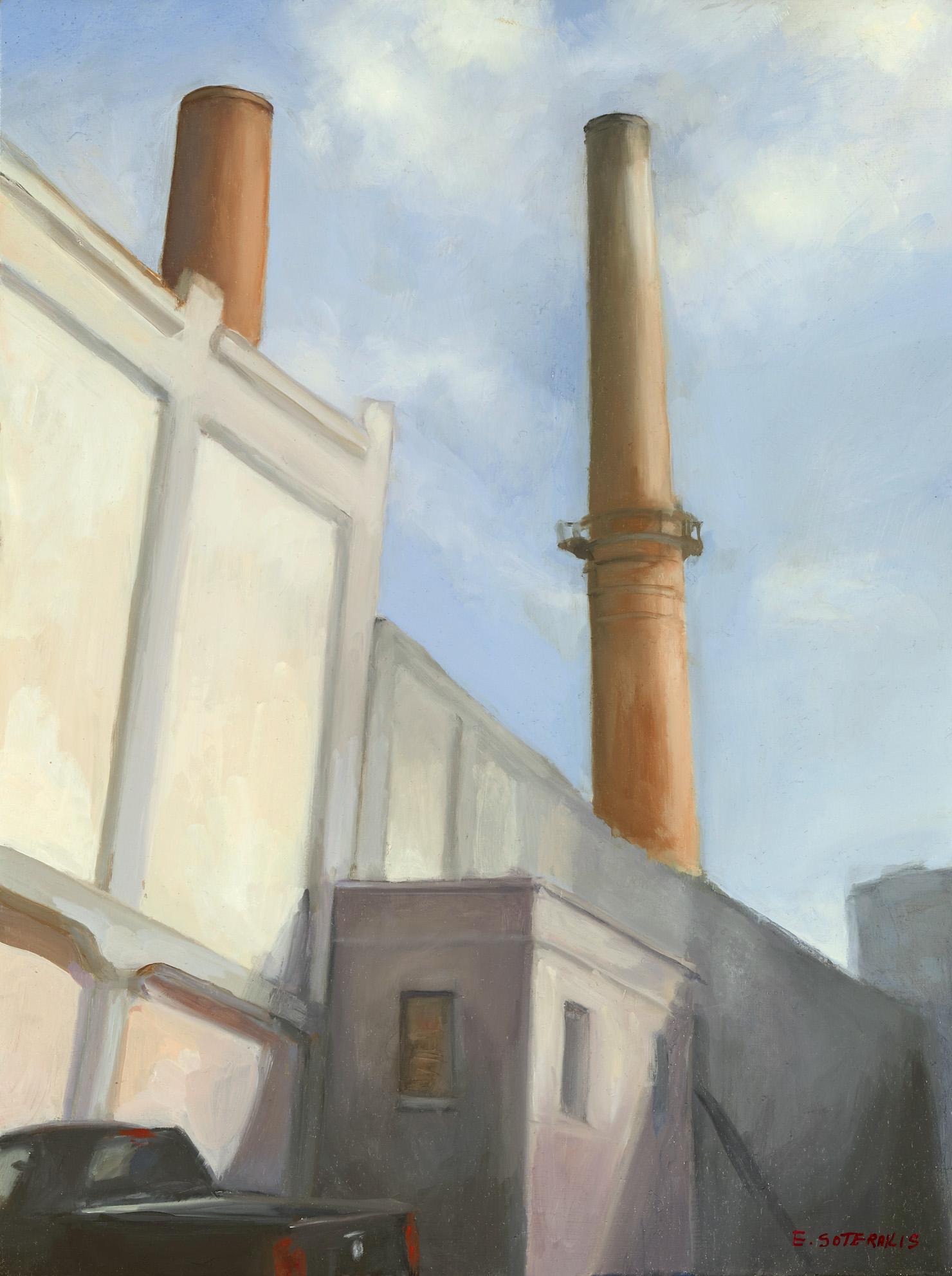 "Brooklyn Power Plant Oil on panel 16"" x 12"""