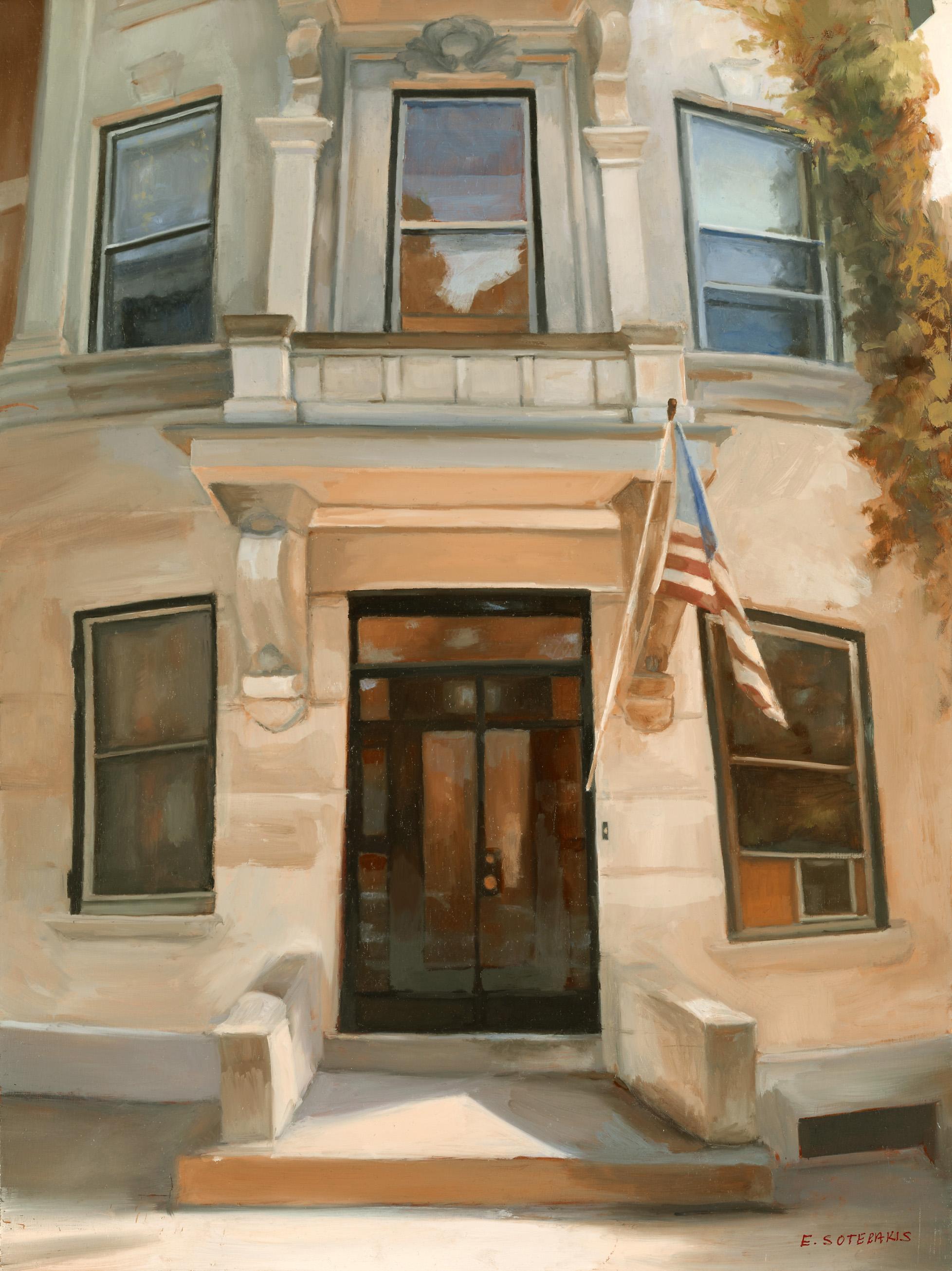 "Brooklyn Townhouse Oil on panel 16"" x 12"""