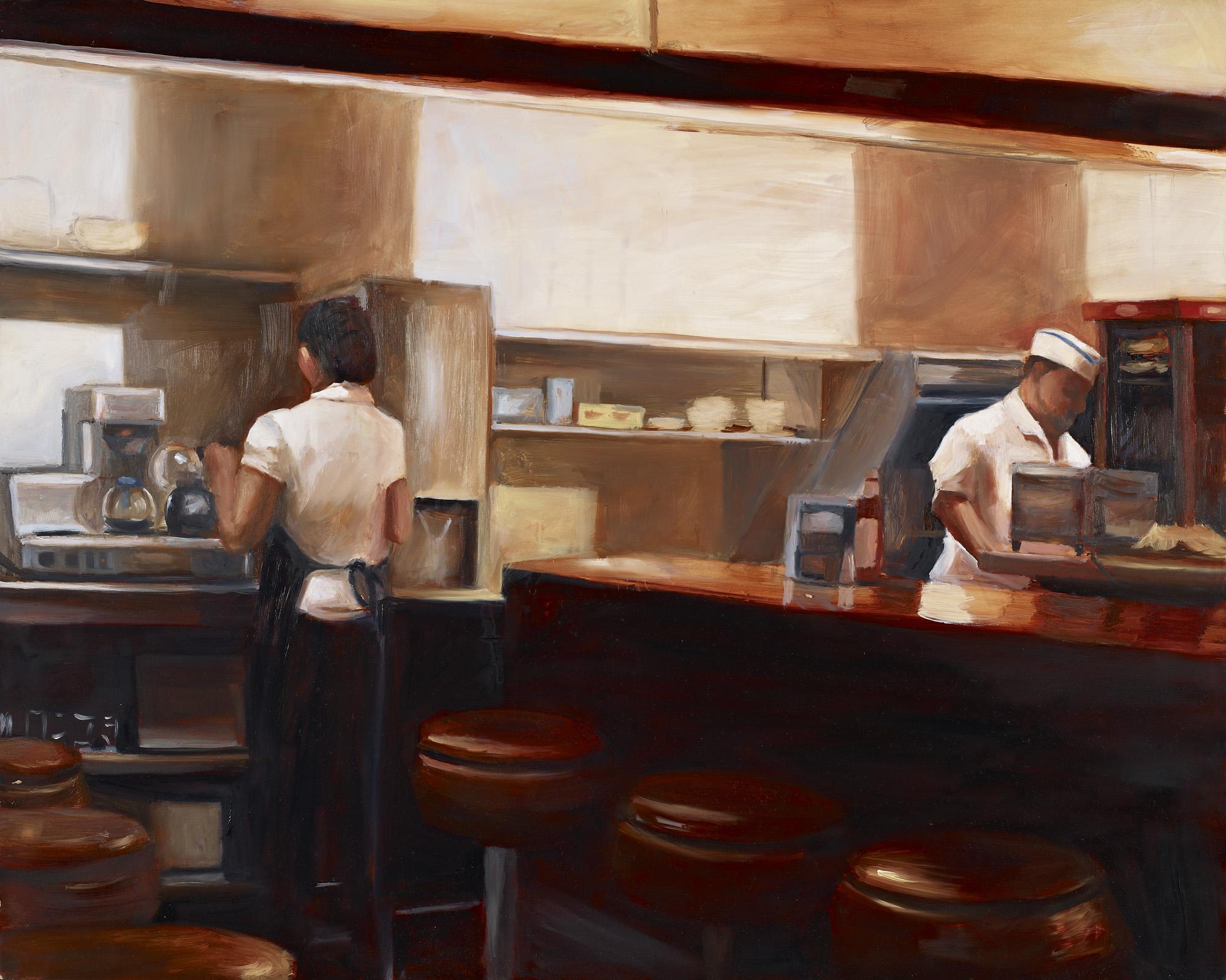 "Diner Oil on panel 20"" x 30"""