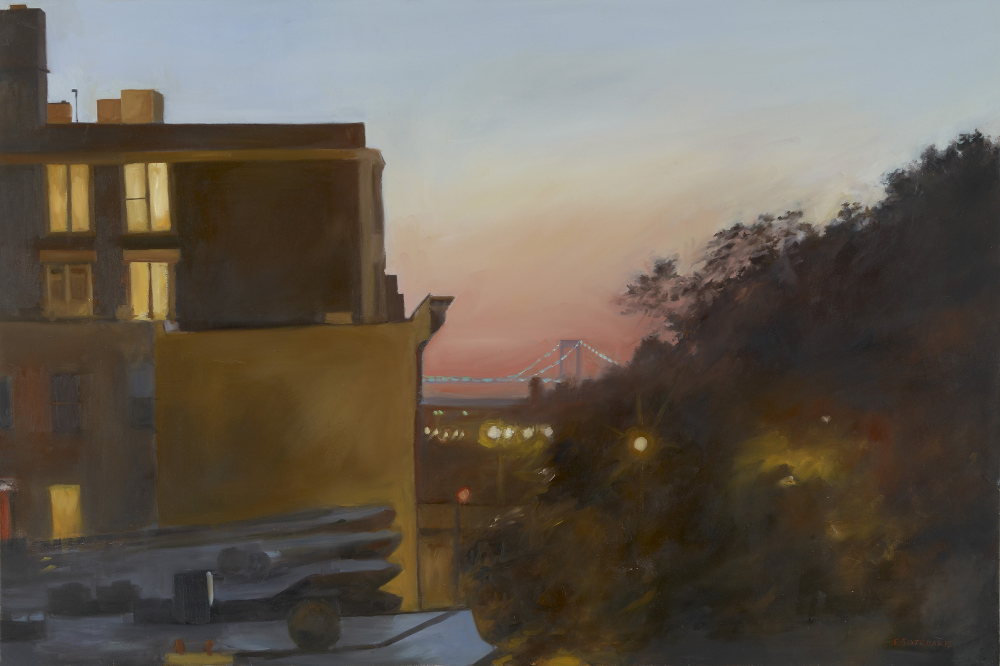 """Rooftop, Sunset Park Oil on panel 24"""" x 36"""""""