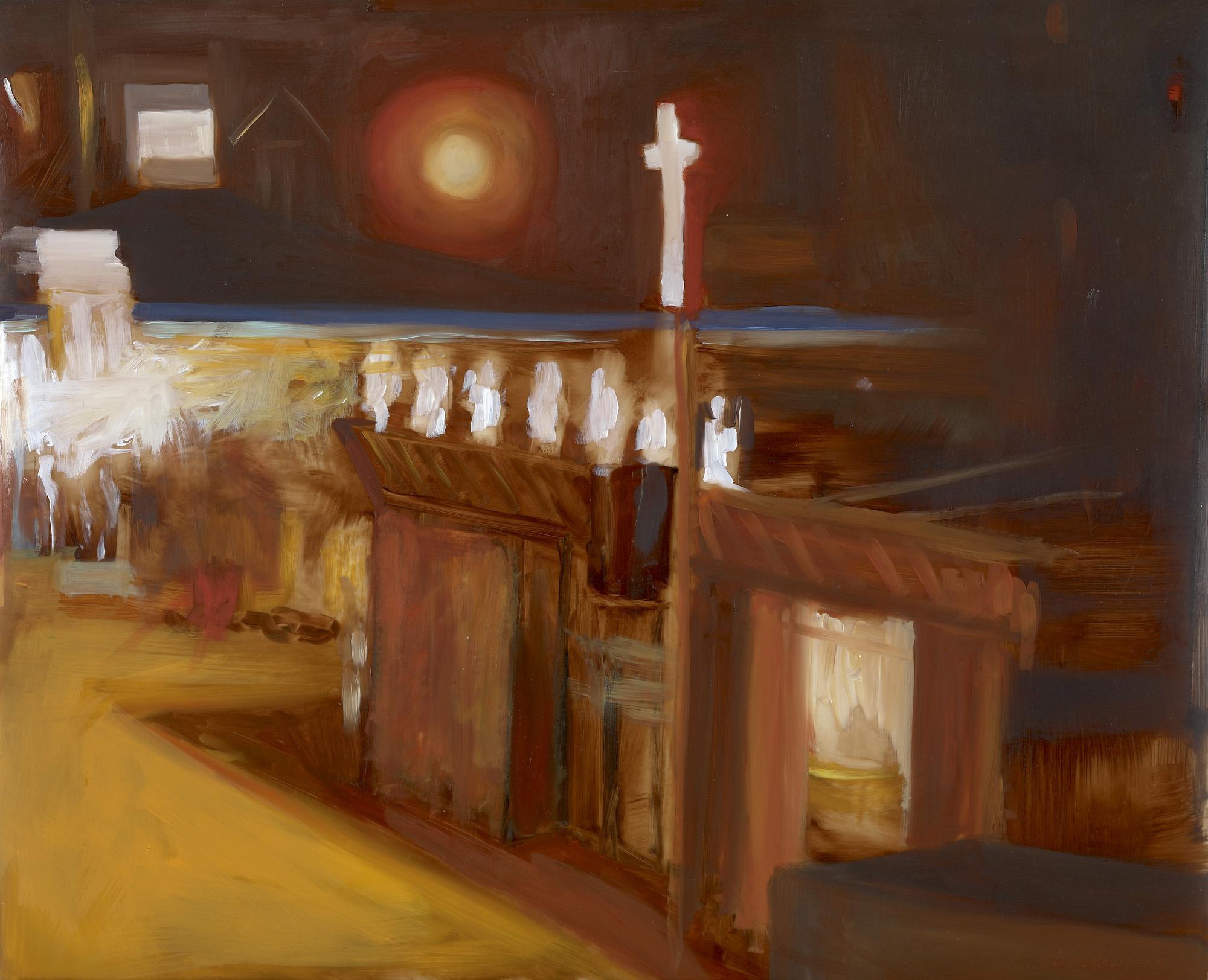"Sunnyside Night Oil on vellum 11"" x 17"""