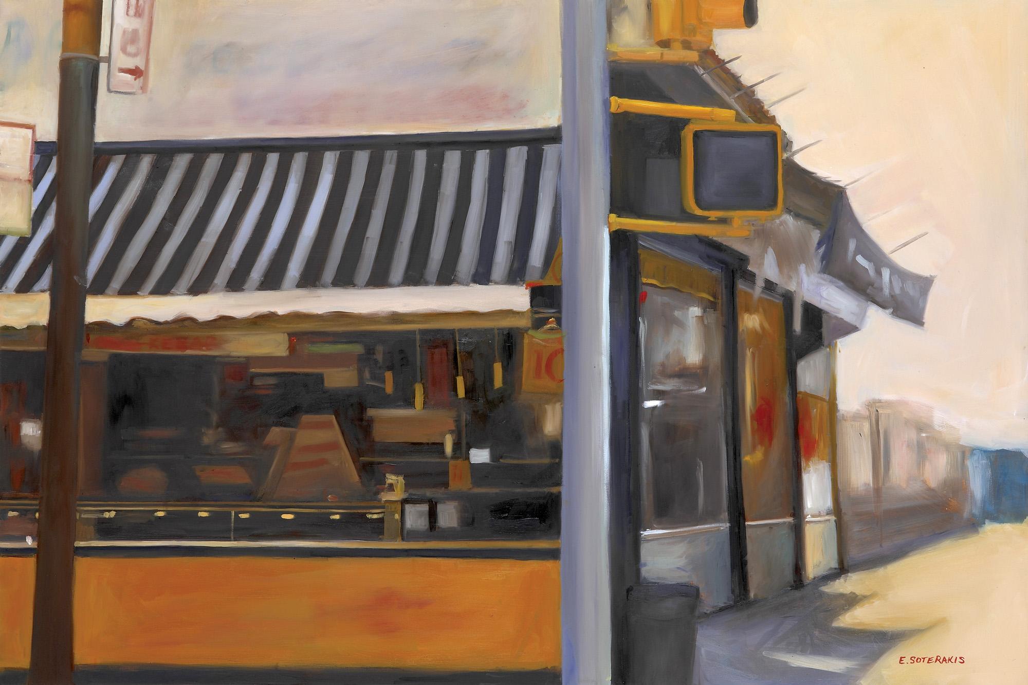 "Street Corner, Coney Island Oil on panel 20"" x 30"""