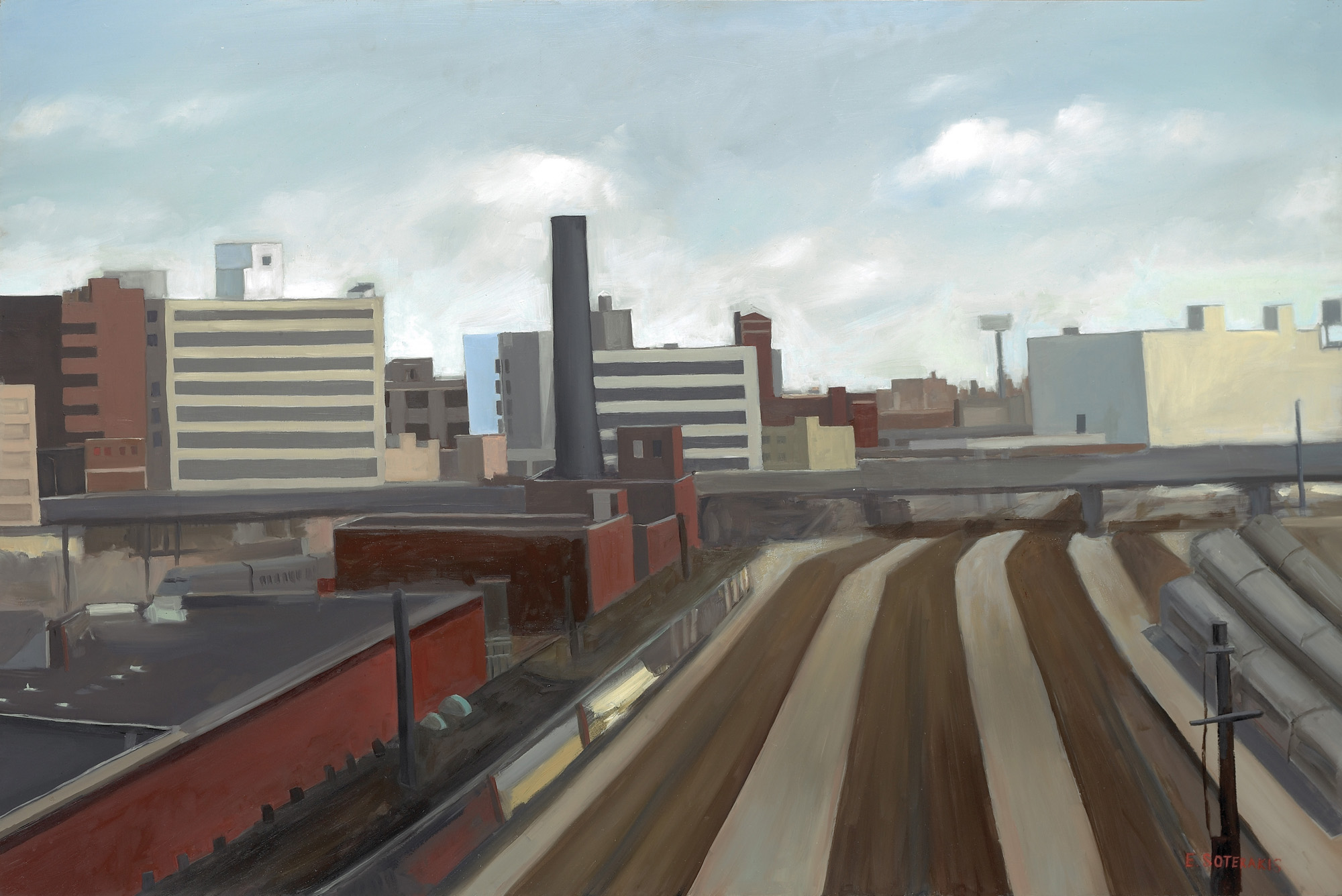 "Long Island City Train Yard Oil on panel 24"" x 36"""
