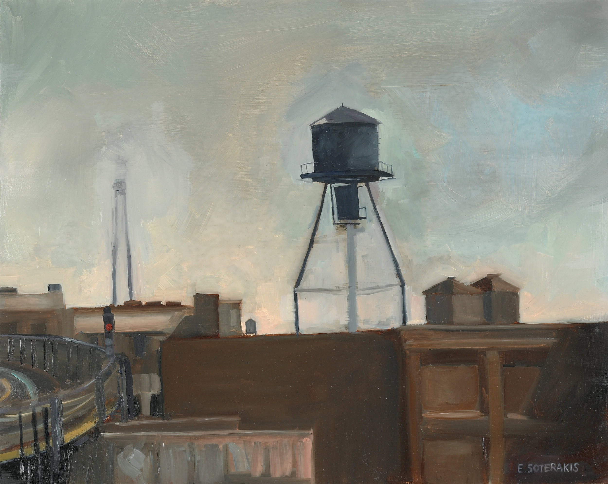 """Water Tower, Long Island City Oil on panel 16"""" x 20"""""""