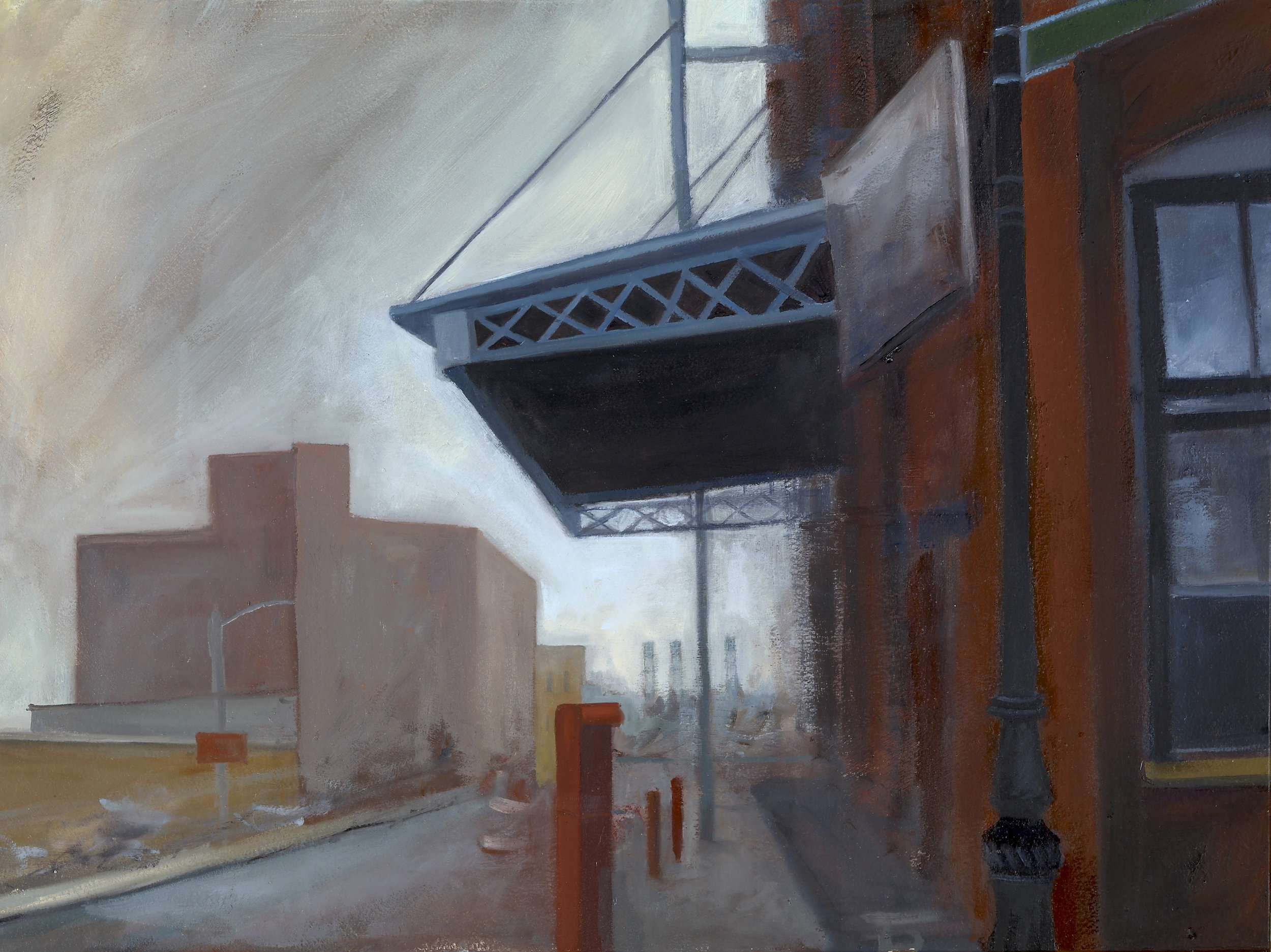 """The Awning Oil on panel 12"""" x 16"""""""