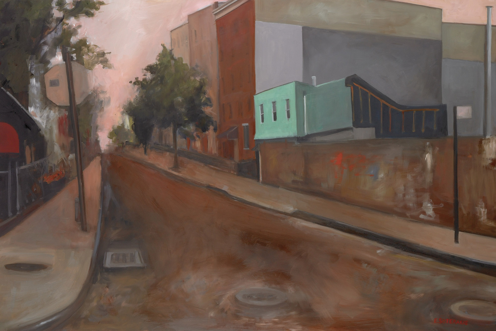 "Street in Brooklyn Oil on panel 24"" x 36"""