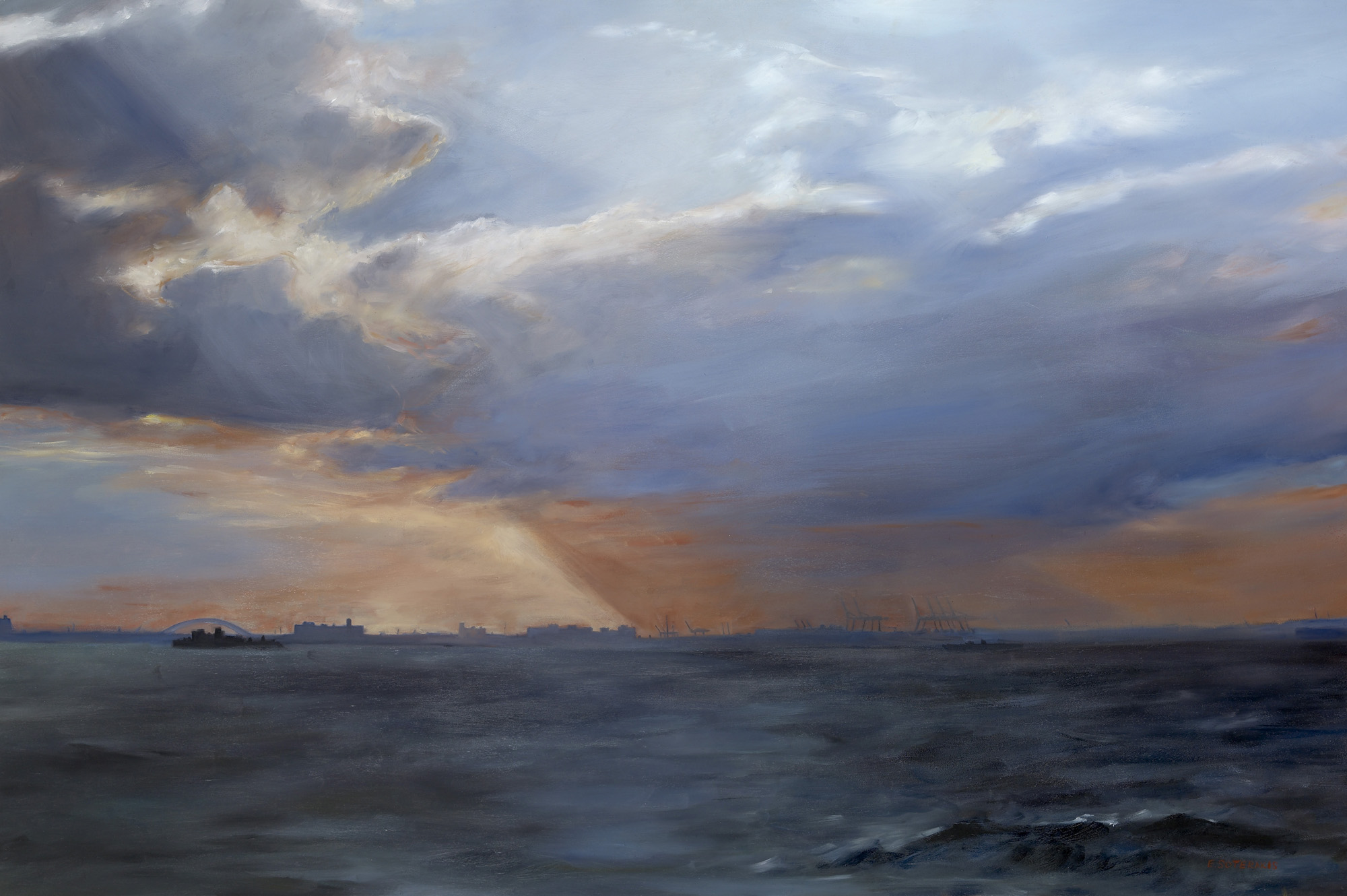 """Red Hook Seascape Oil on panel 24"""" x 36"""""""
