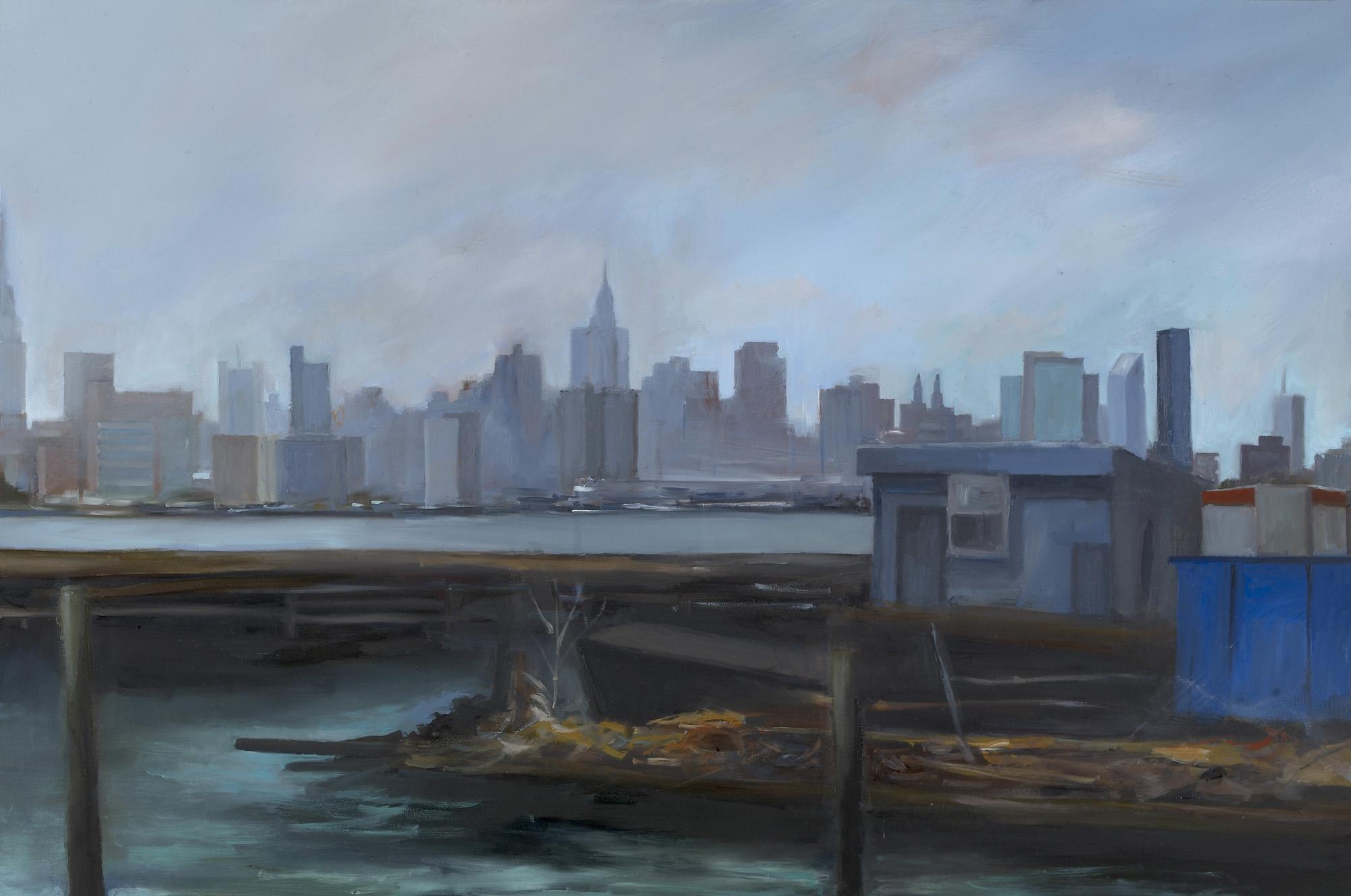"""Pier in Brooklyn Oil on panel 12"""" x 18"""""""