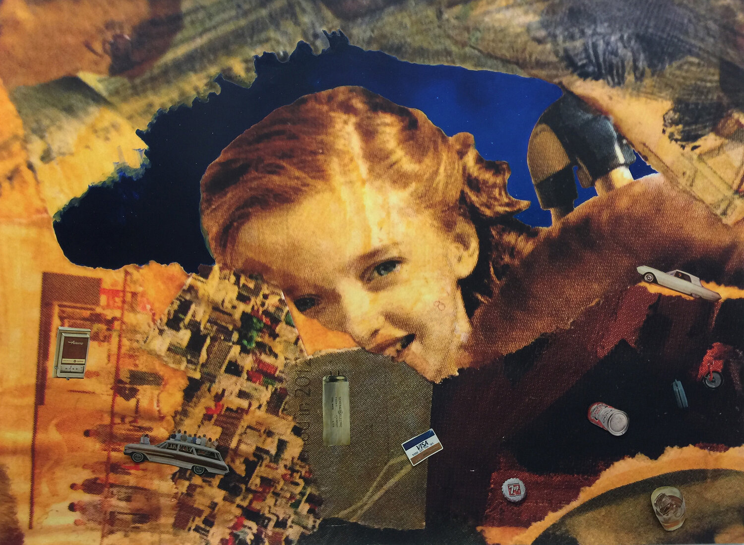 Christina's World ,  oil and collage on a float mount panel,  40 x 60 inches