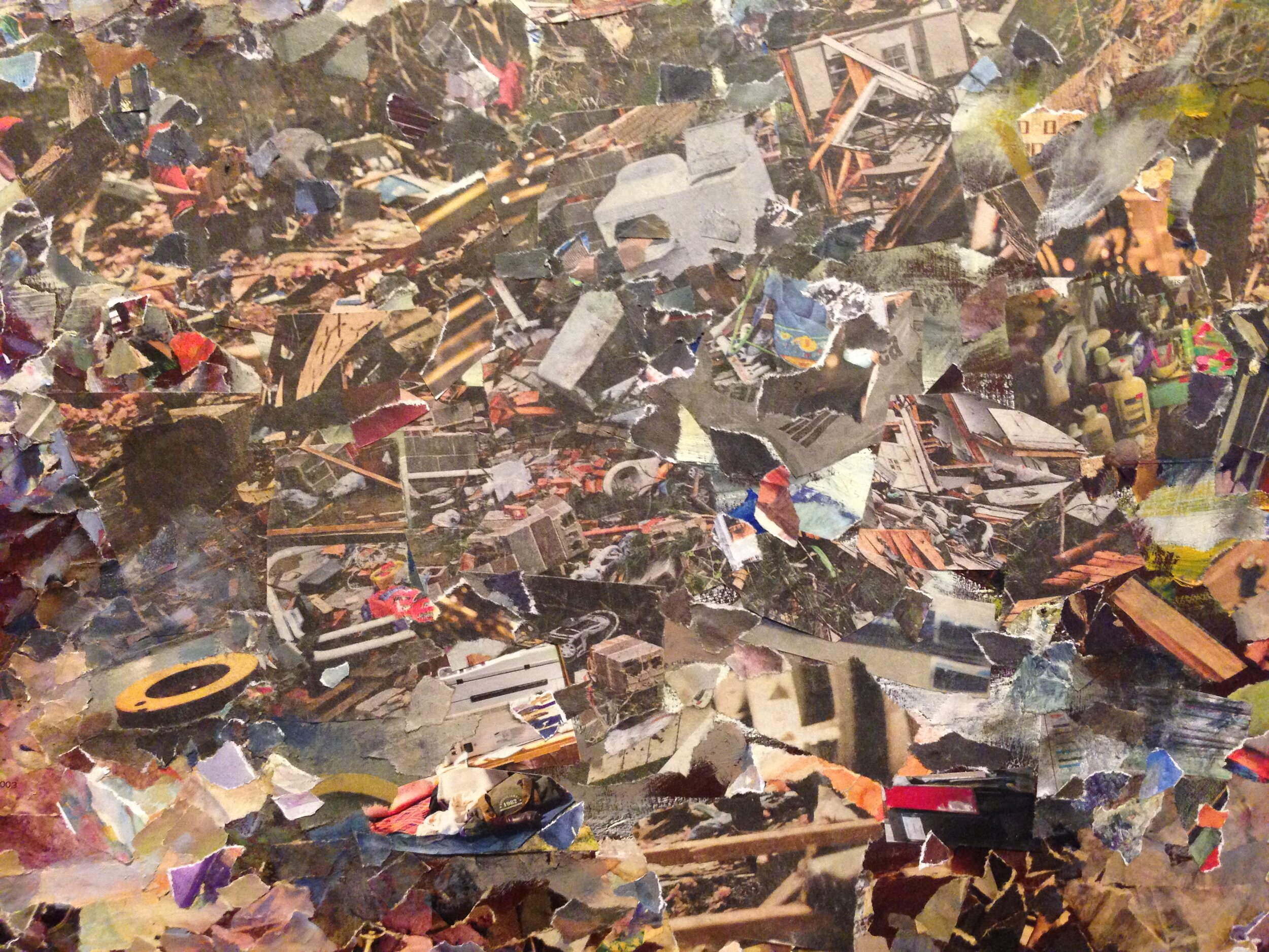 The Aftermath,  oil on and collage on a digital print on panel 40 x 60 inches