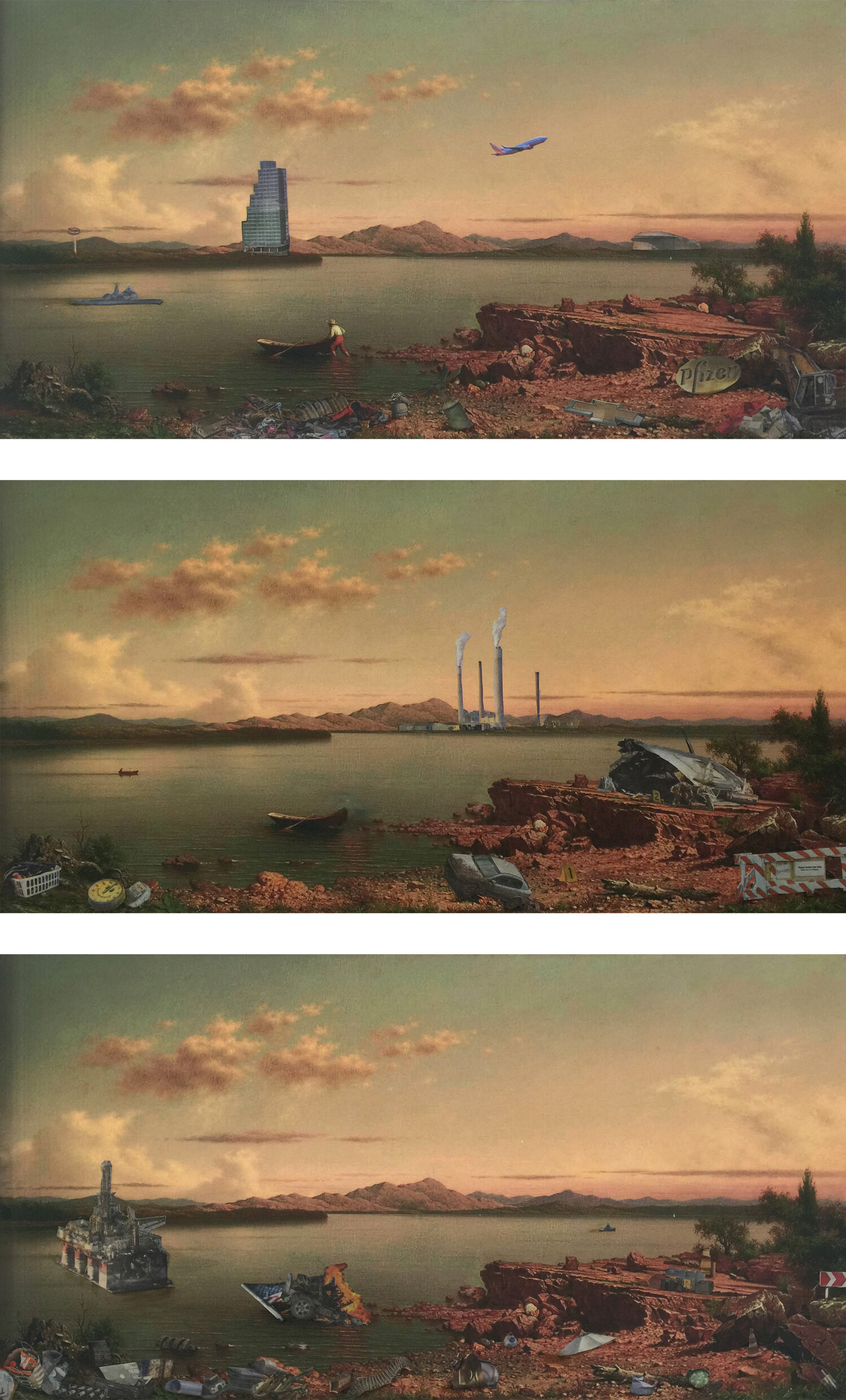 Martin Thomas Heade's, Lake George Revisited,   oil and collage on a digital print,  (3) 6 x 12 inches