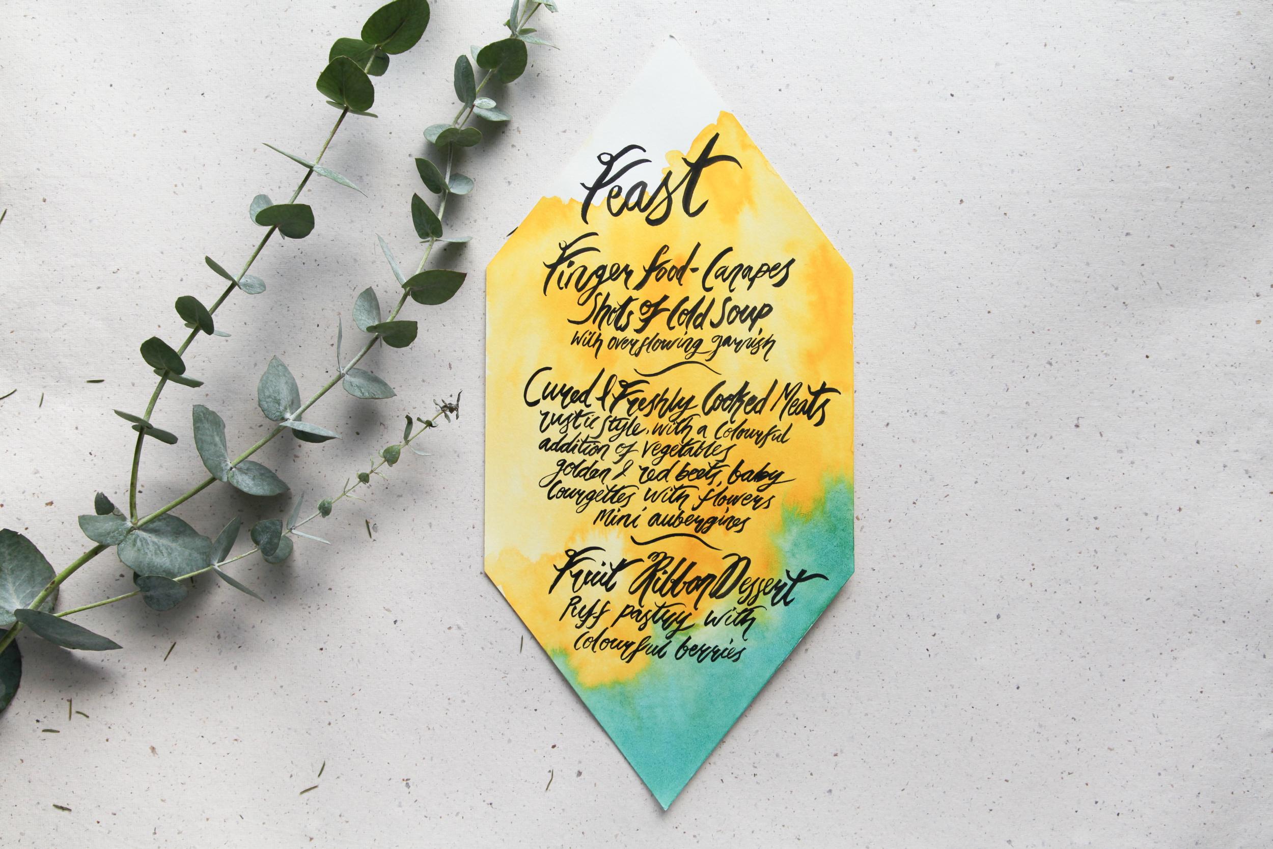 Custom illustrated and painted large boho menu_Copyright CuriousMe Design.jpg