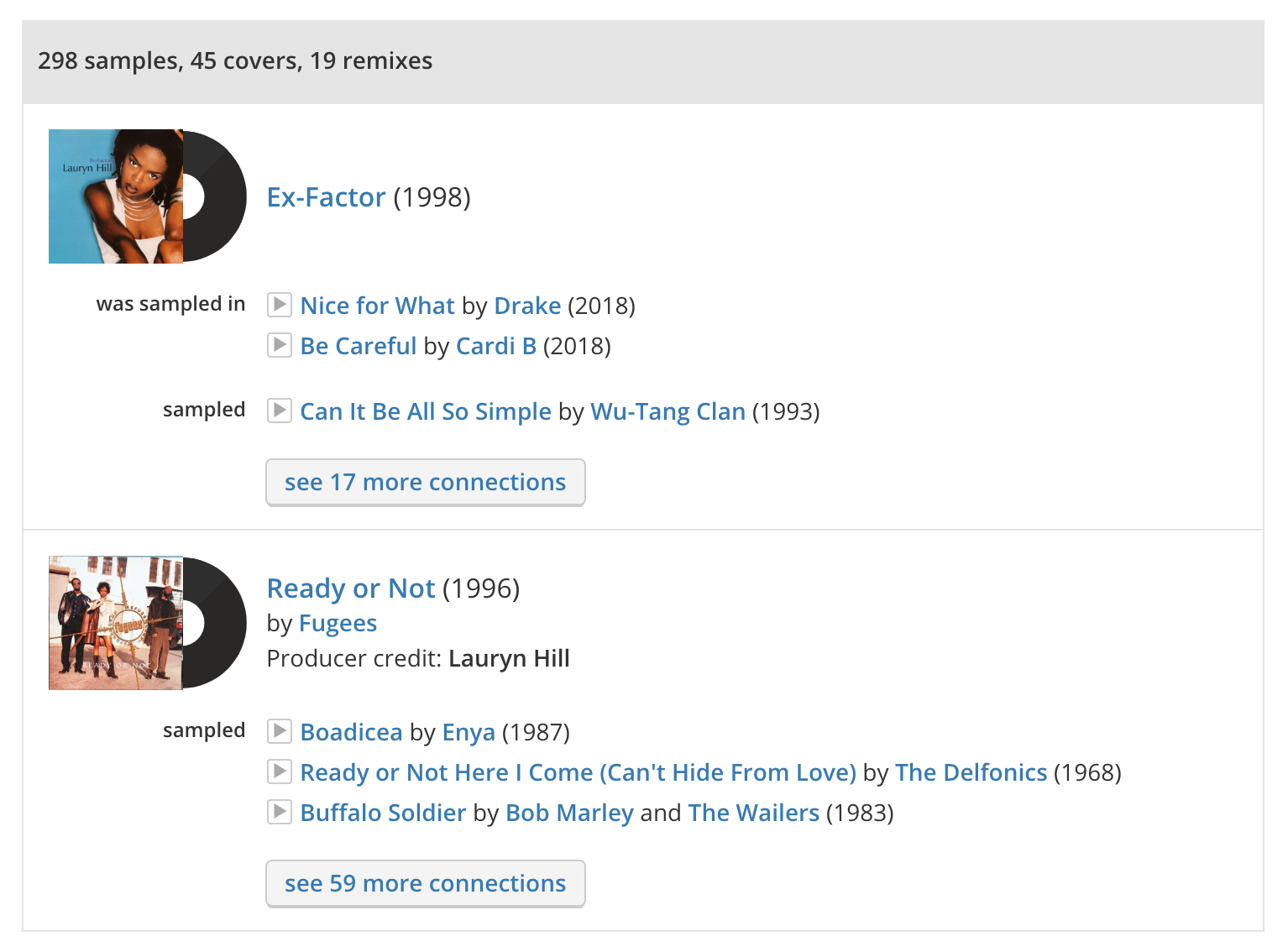 WhoSampled has a rich database of music that samples Lauryn Hill