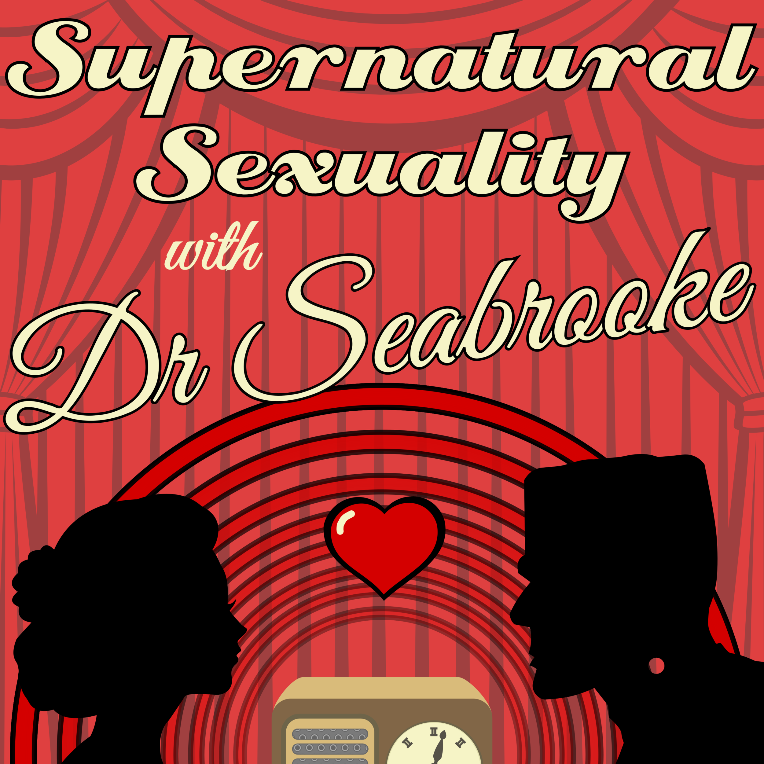 The cover art for Supernatural Sexuality. It has a cartoon radio between the shadows of what looks to be a human woman and frankenstein. There is a heart floating between them, and the title of the show is in bold and curly script above them.