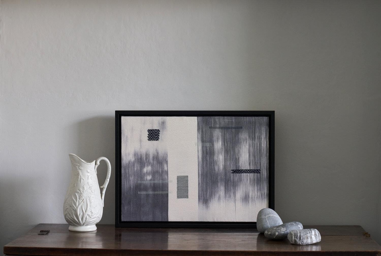 Ink Fragments Framed Woven Art