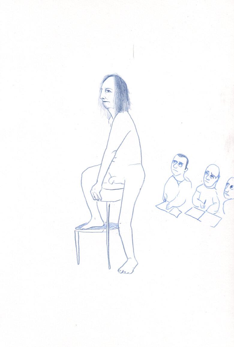 Three Men Drawing a Man