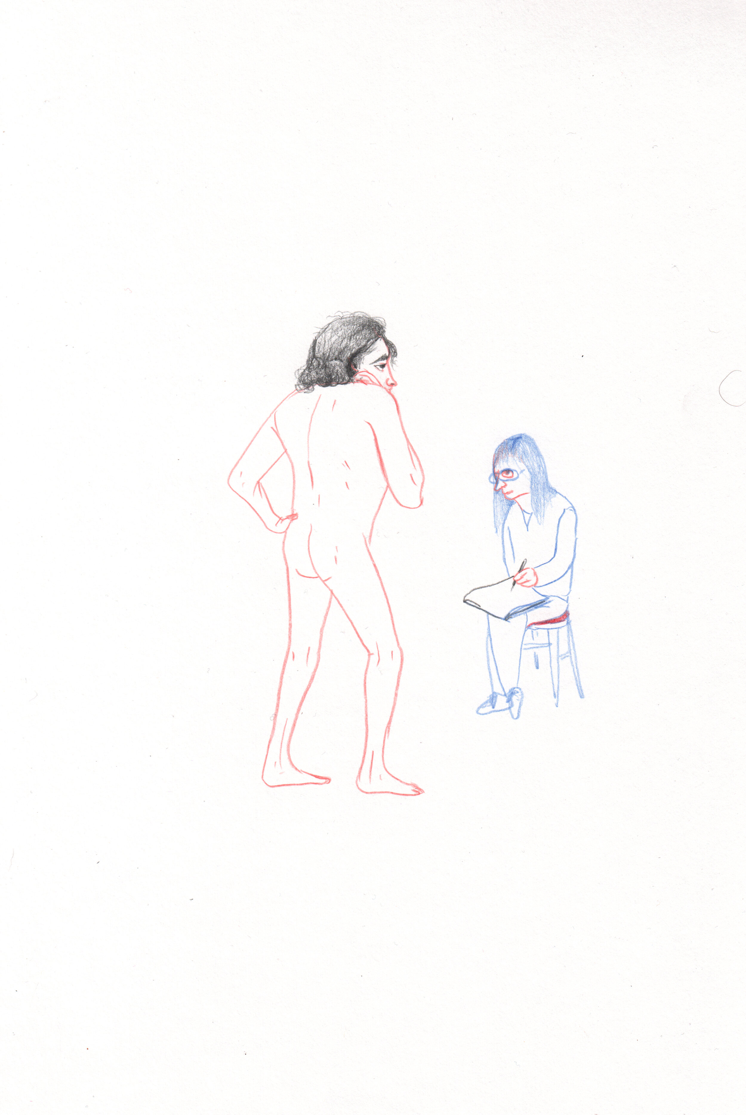 Woman Drawing a Man